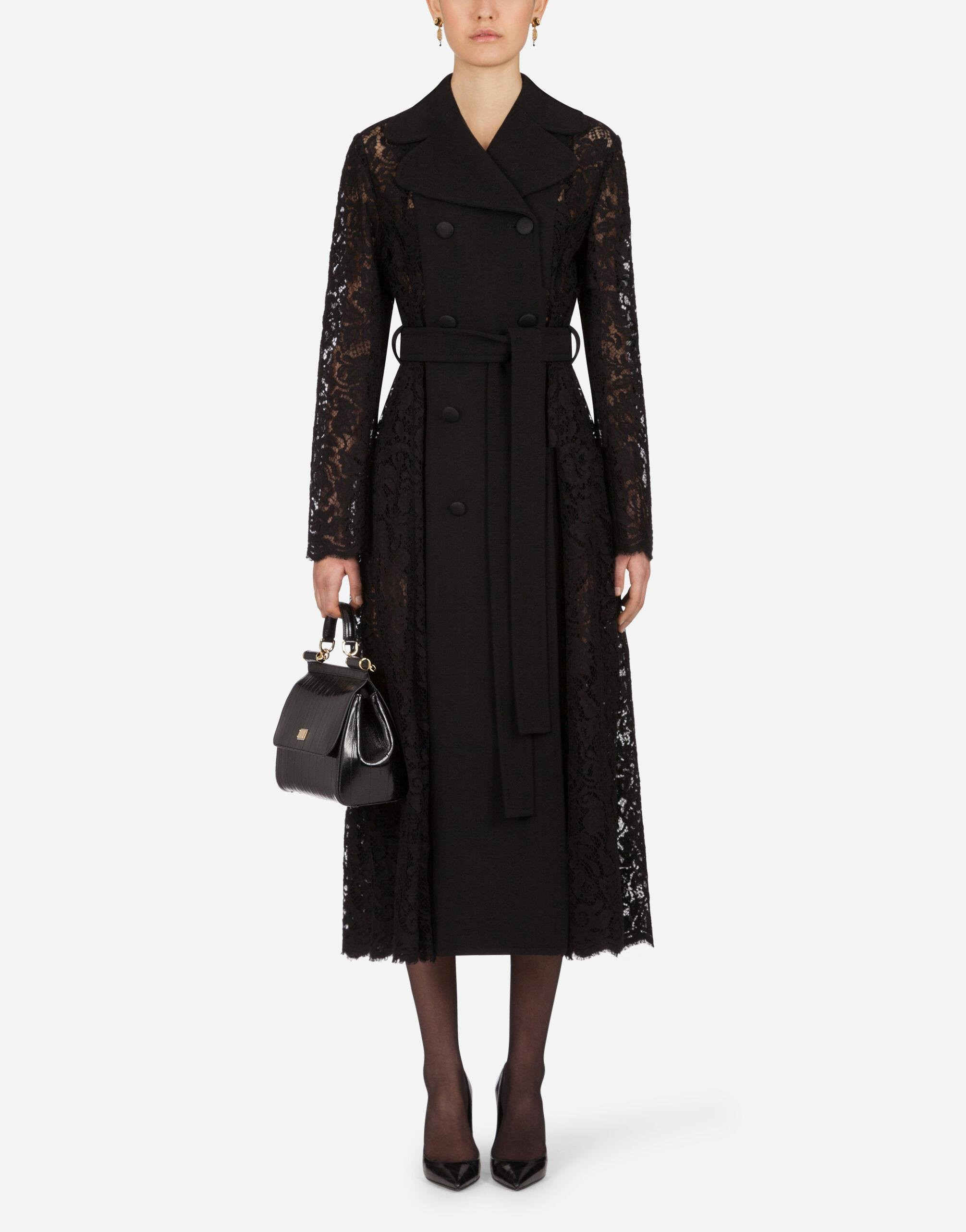 Belted double-breasted crepe and lace coat