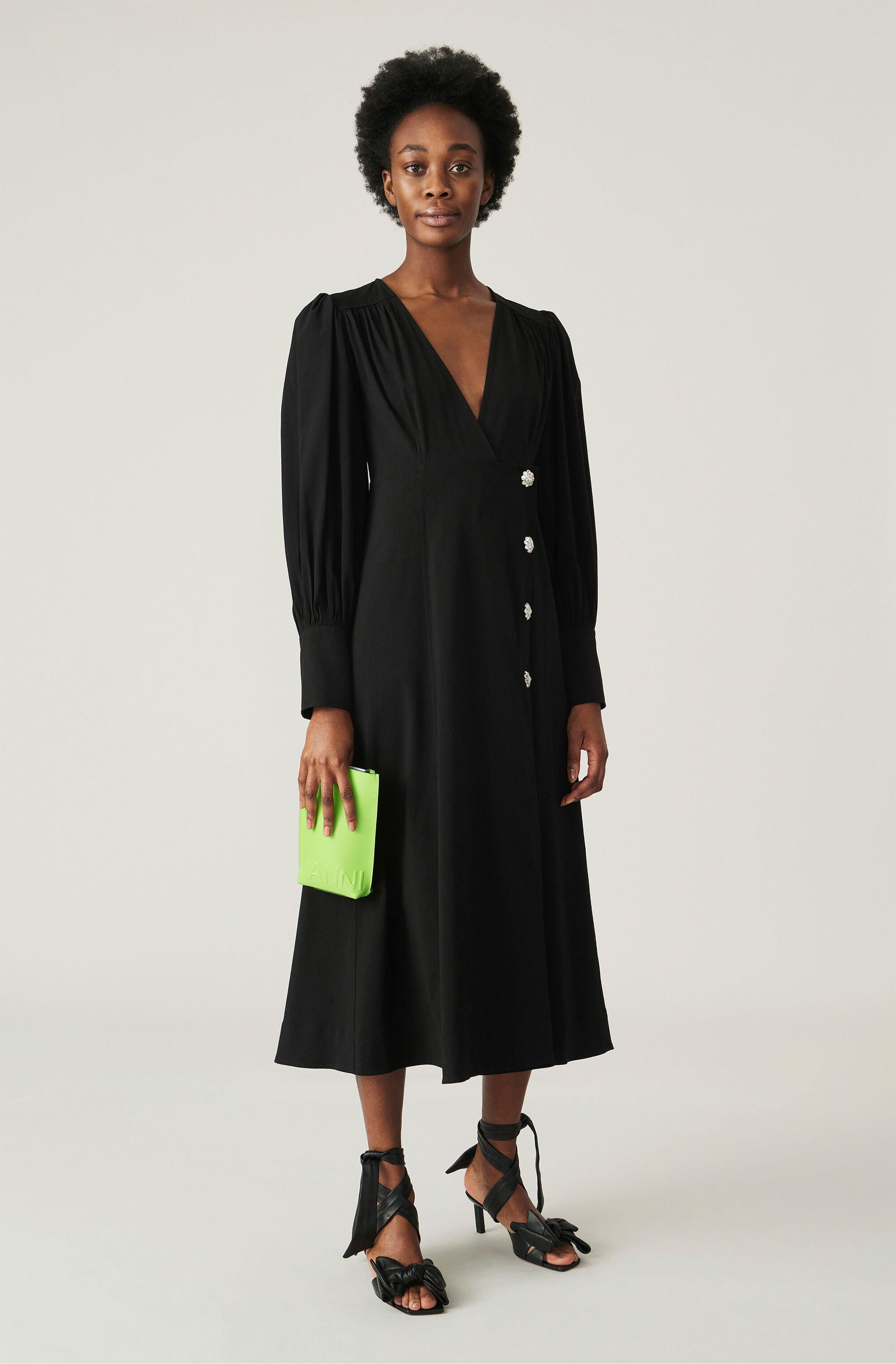Recycled Polyester Wrap Midi Dress