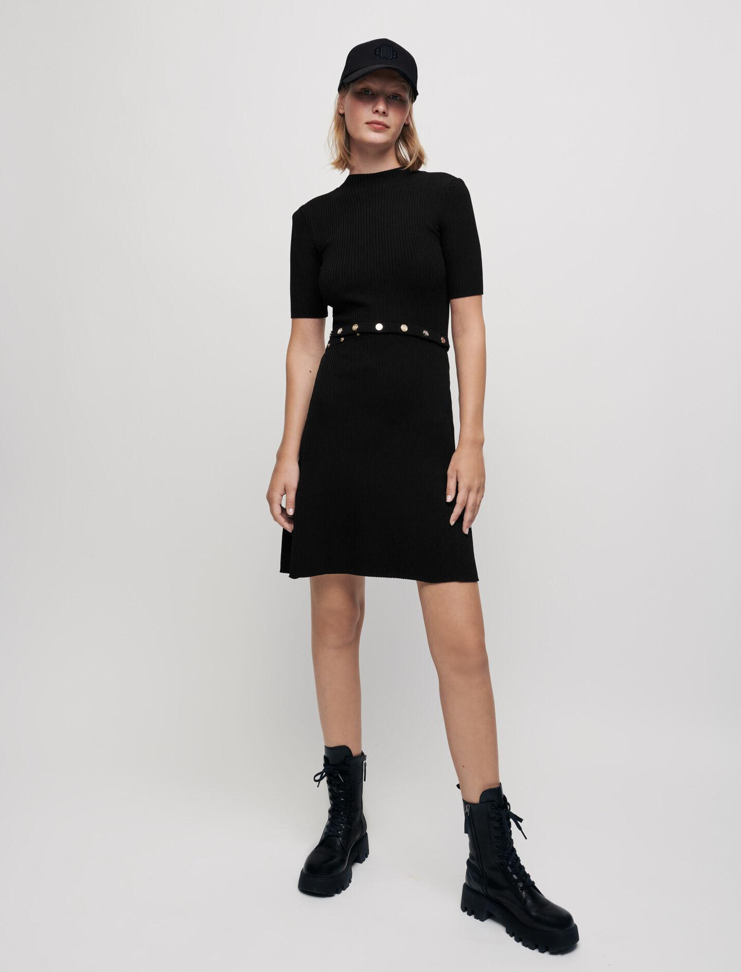 RIBBED KNIT DRESS WITH MAJE BUTTONS