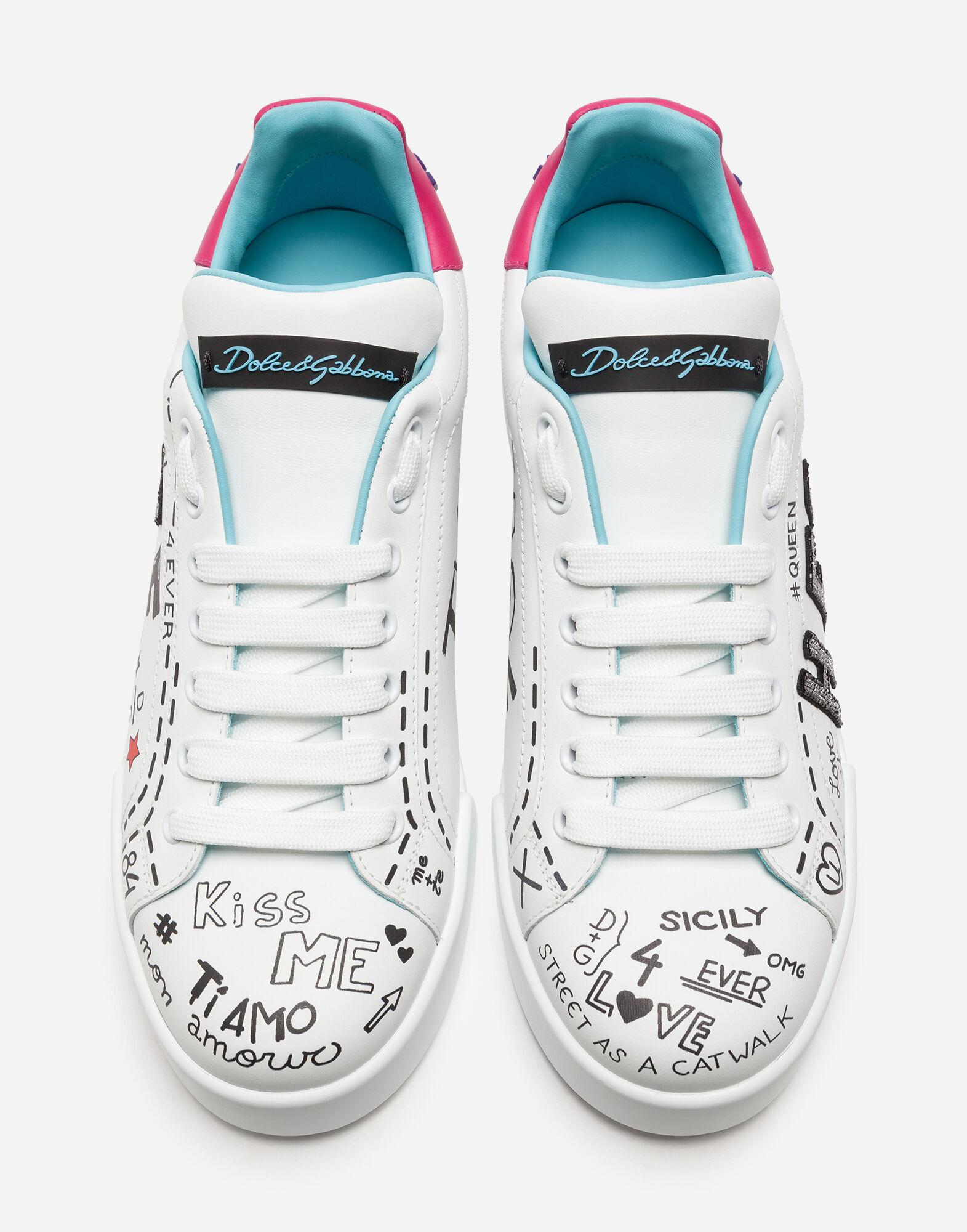 Printed calfskin Portofino sneakers with patch 1