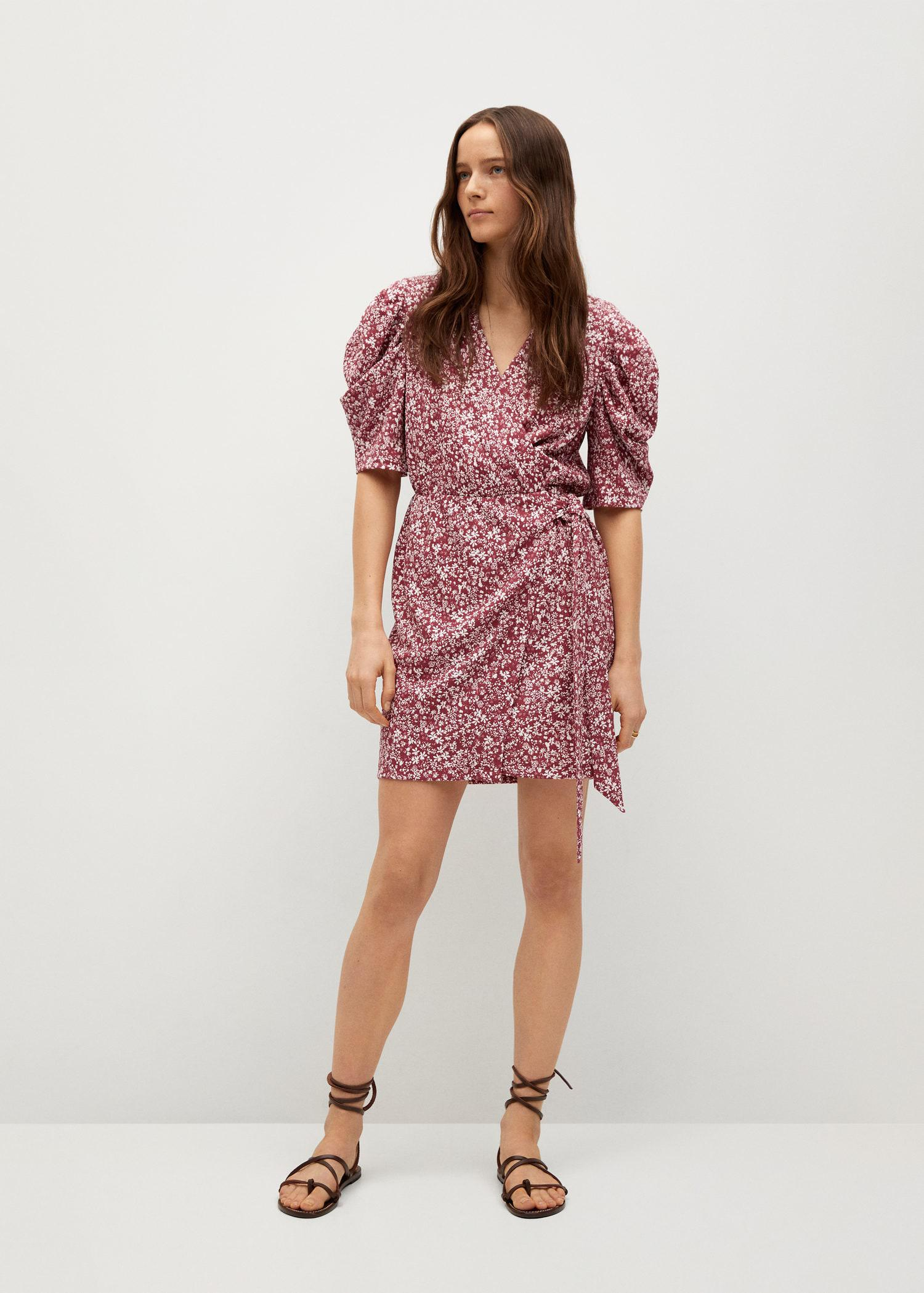 Printed dress with balloon sleeves 1