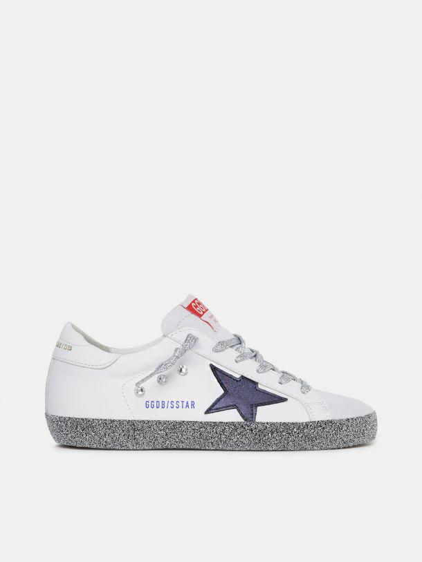 LAB limited edition Super Star sneakers with crystals on the foxing and laminated midnight-blue star