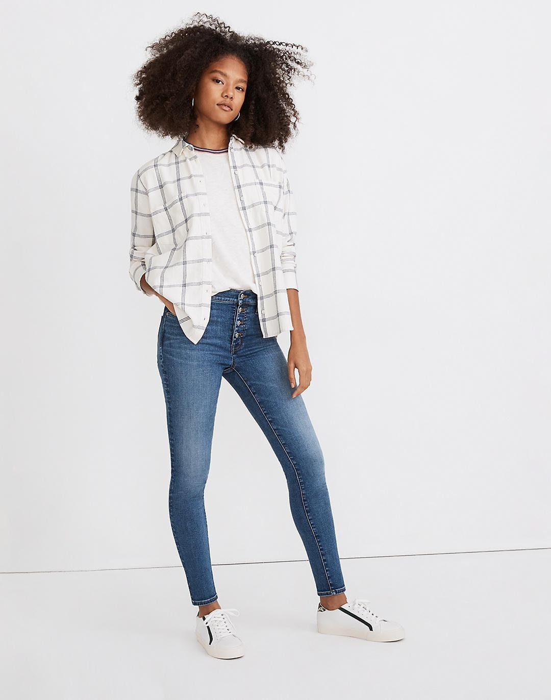 """Tall 9"""" Mid-Rise Skinny Jeans in Payson Wash: Button-Front Edition"""
