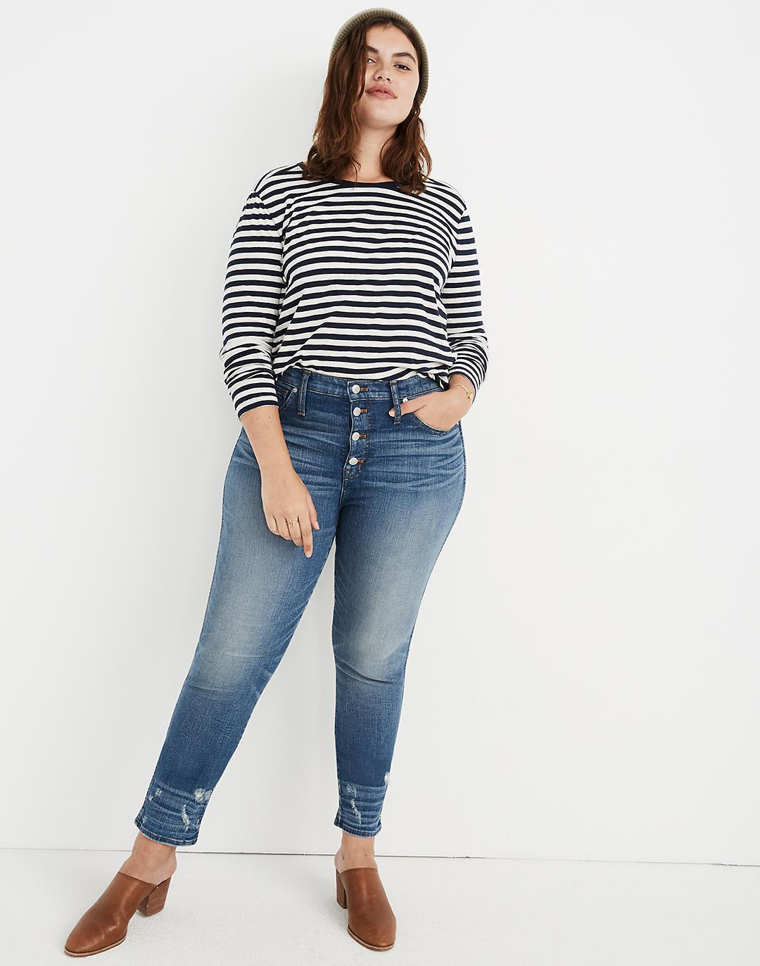Taller Slim Straight Jeans: Distressed Button-Front Edition