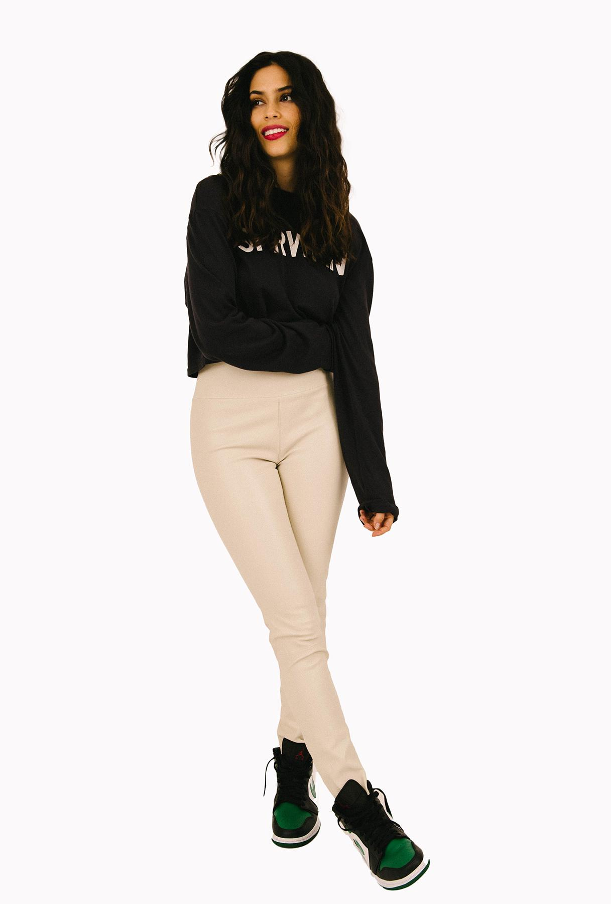 Off White Leather Ankle Legging