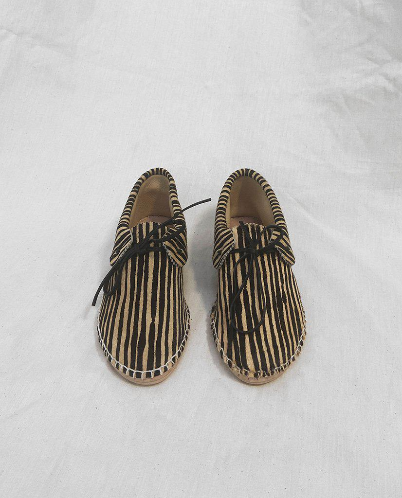 The Canyon Moccasin. -- Black and Cream Stripe 1