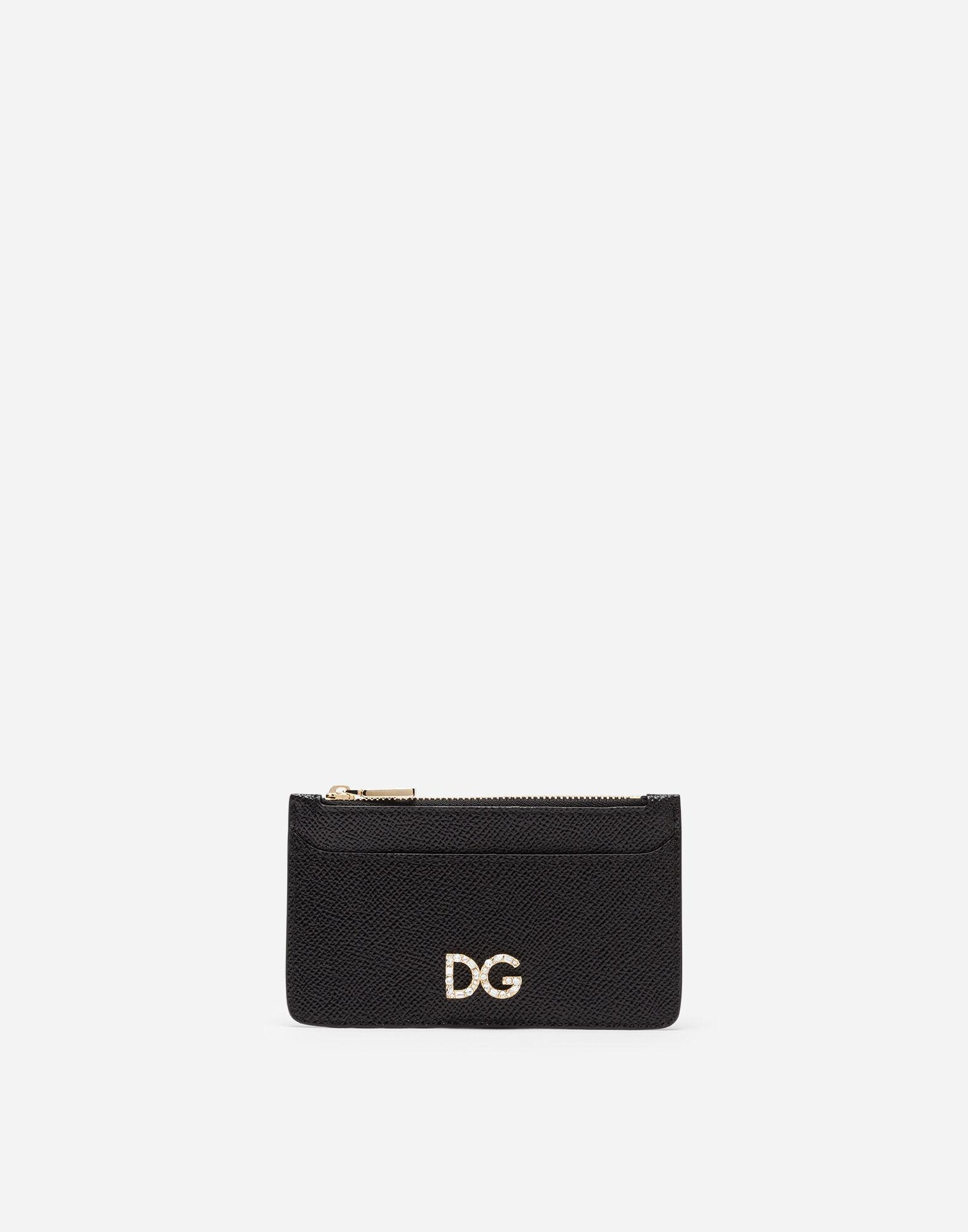 Credit card holder in dauphine calfskin with logo crystals
