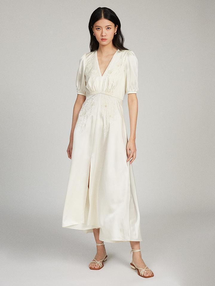 Lea Long B Dress in Ivory with Flowering Applique