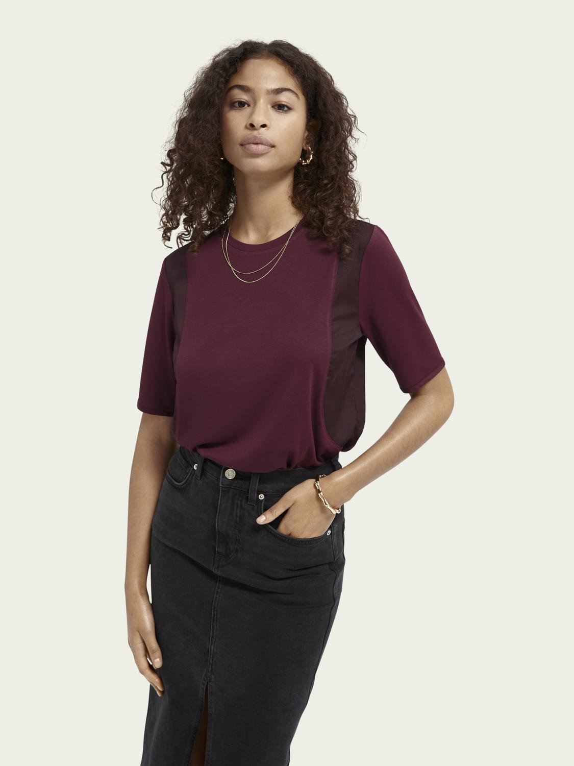 Loose fit woven mix T-shirt