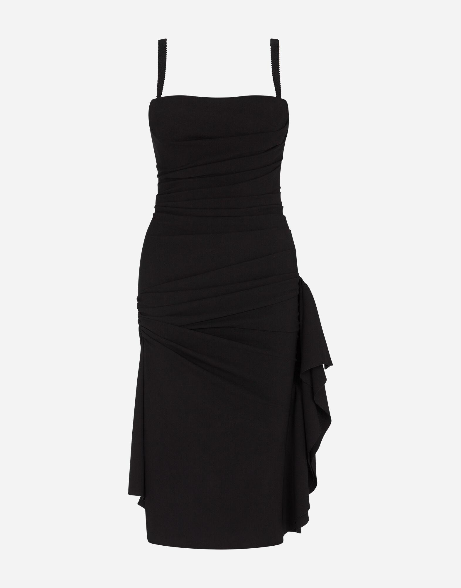 Longuette dress in tulle with draping 2
