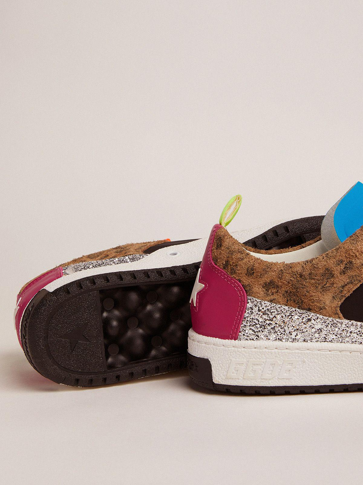 Yeah sneakers with silver glitter, animal-print and colored leather patchwork 2