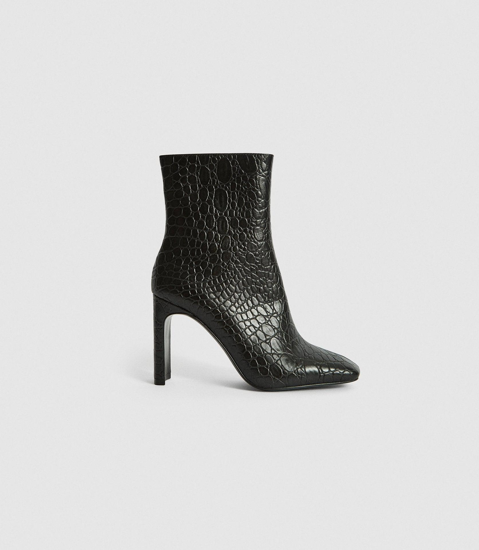 VOGUE - LEATHER CROC EMBOSSED ANKLE BOOTS
