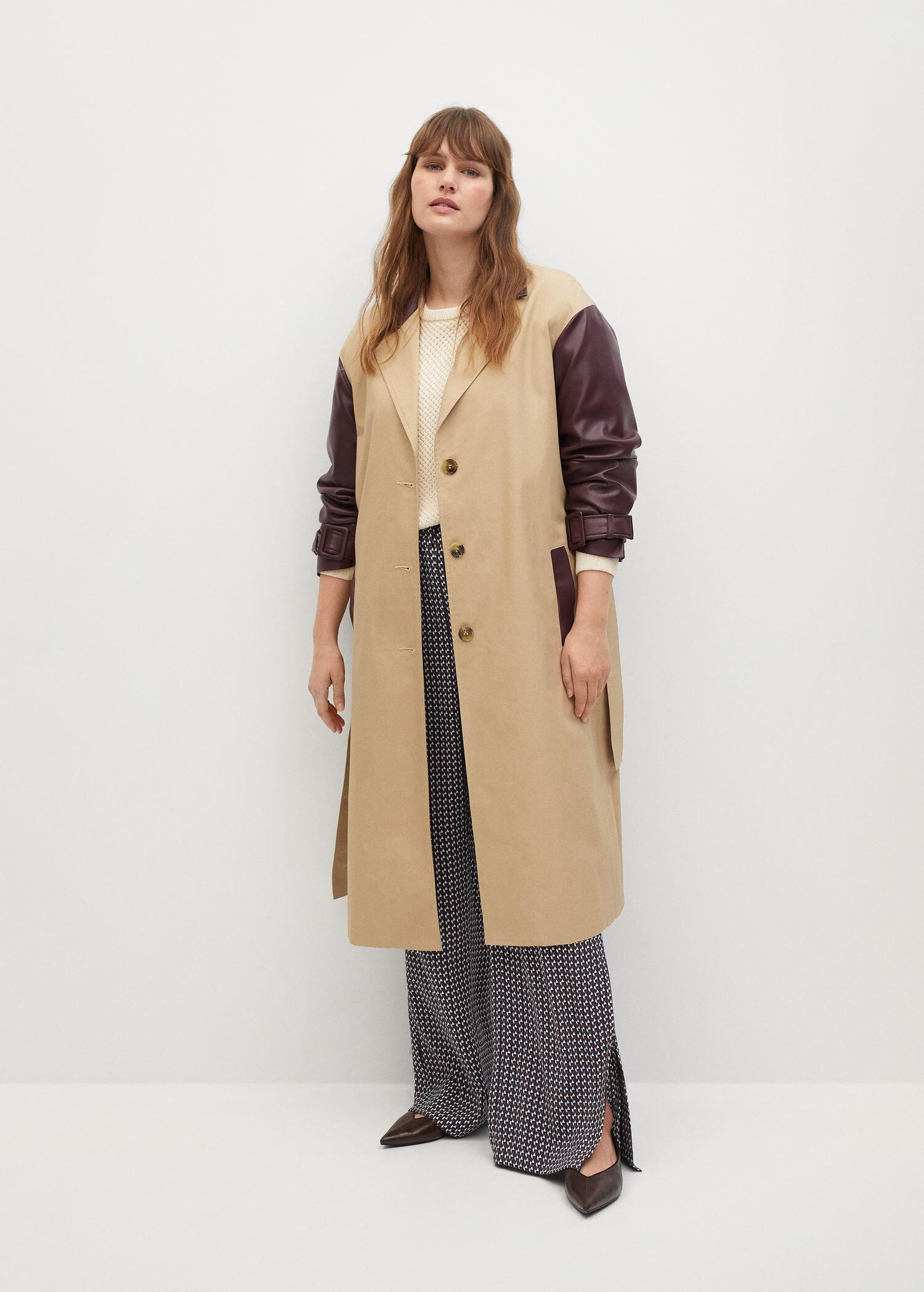 Combined leather-effect trench coat