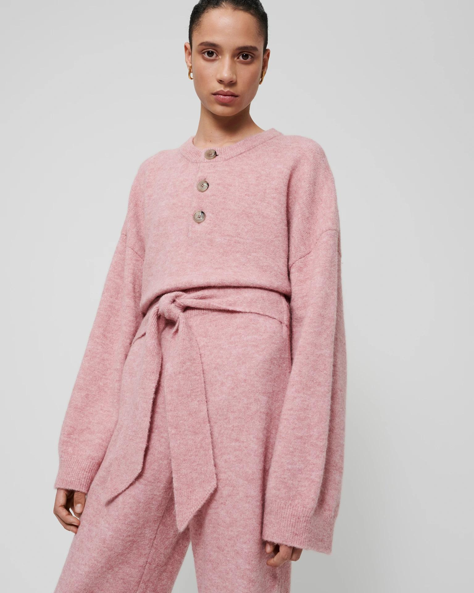 LAMEE - Fluffy-knit sweater - Washed-pink
