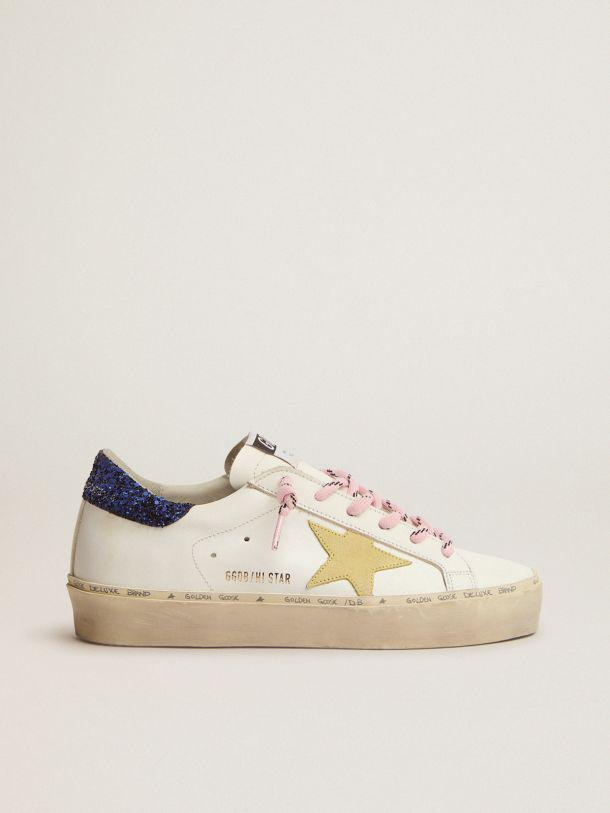 Hi Star LTD sneakers with blue glitter heel tab and yellow suede star