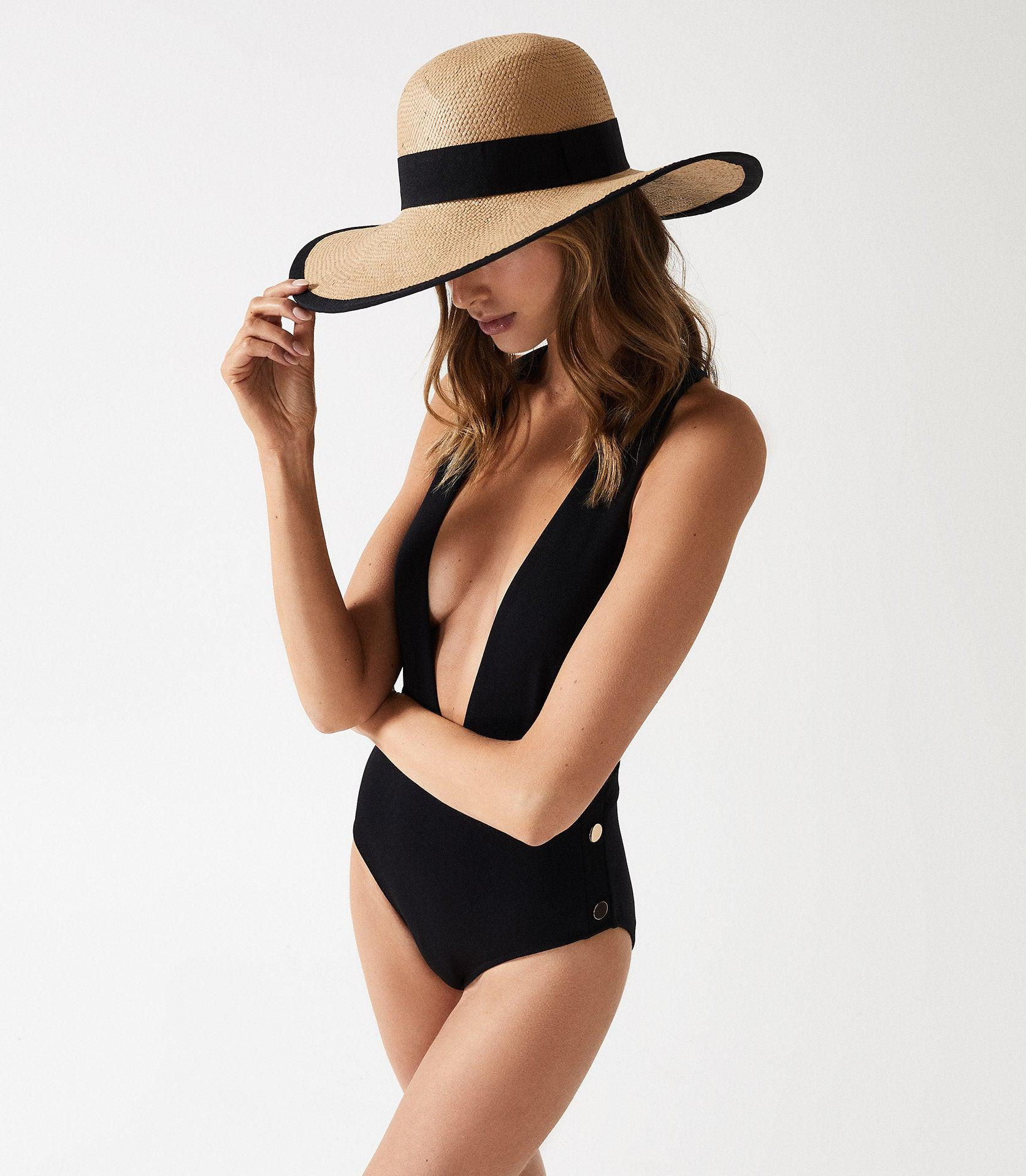 ORLA - PLUNGE SWIMSUIT WITH BUTTON DETAIL 2