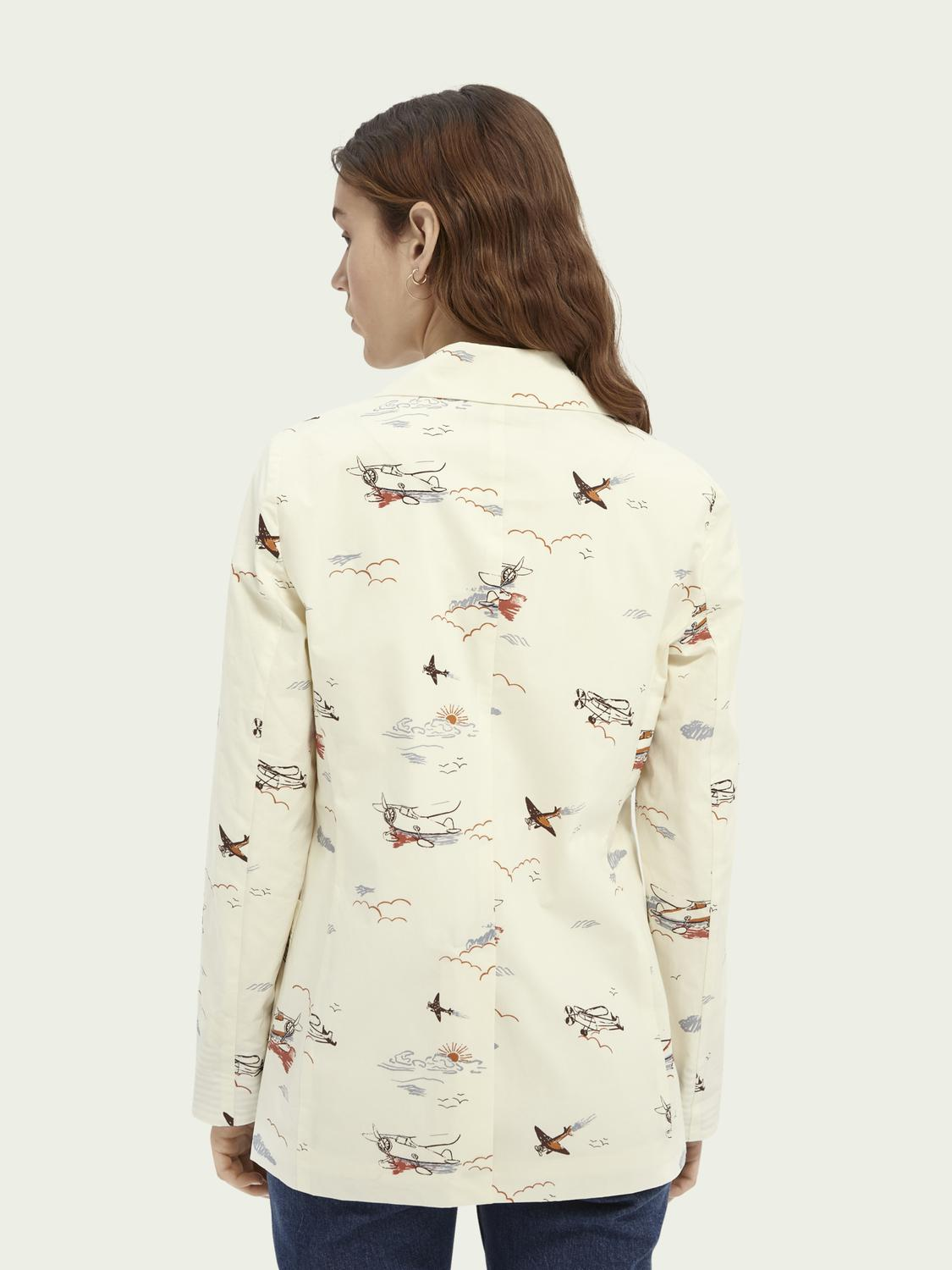 Printed double-breasted organic cotton blazer 2