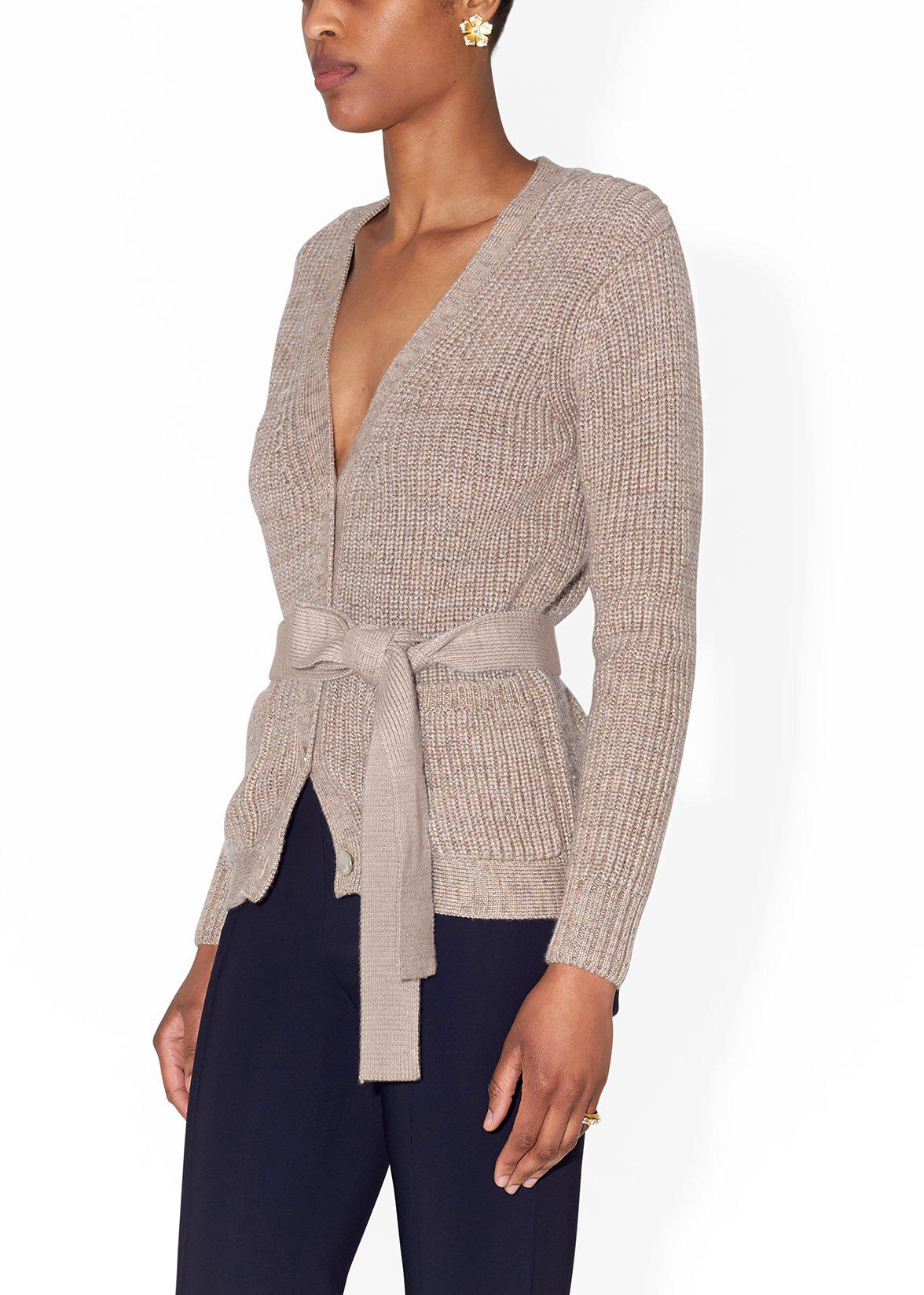 SLOUCHY CARDIGAN WITH PEARL BUTTONS IN SILK WOOL CASHMERE