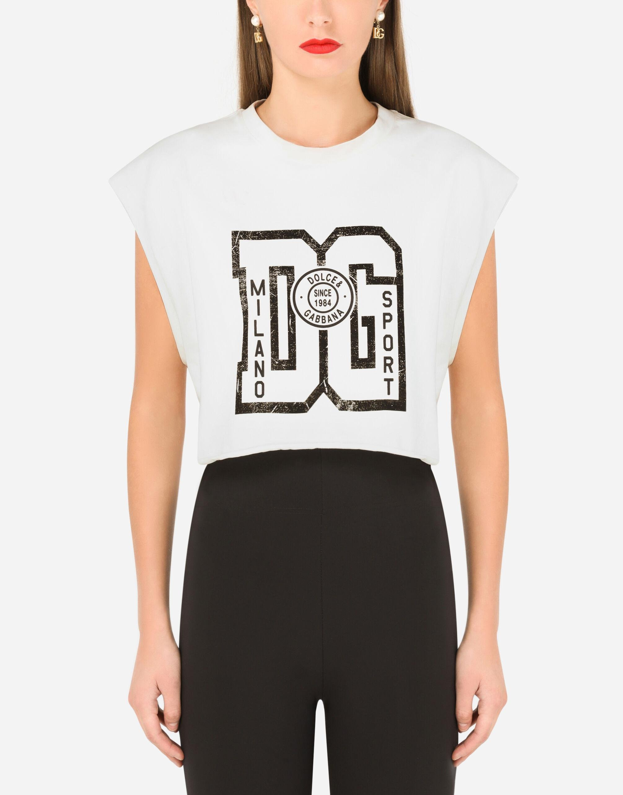 Cropped jersey T-shirt with DG print