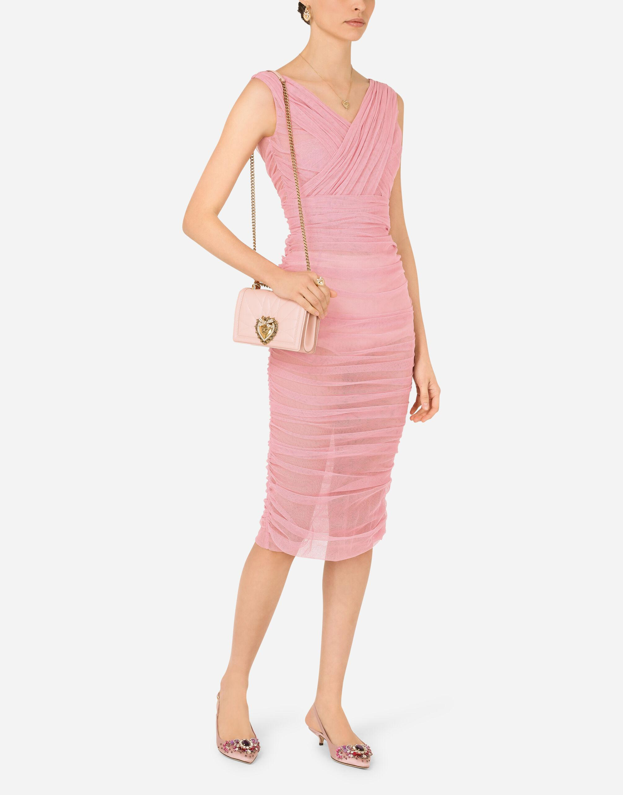 Calf-length draped dress in stretch tulle 4