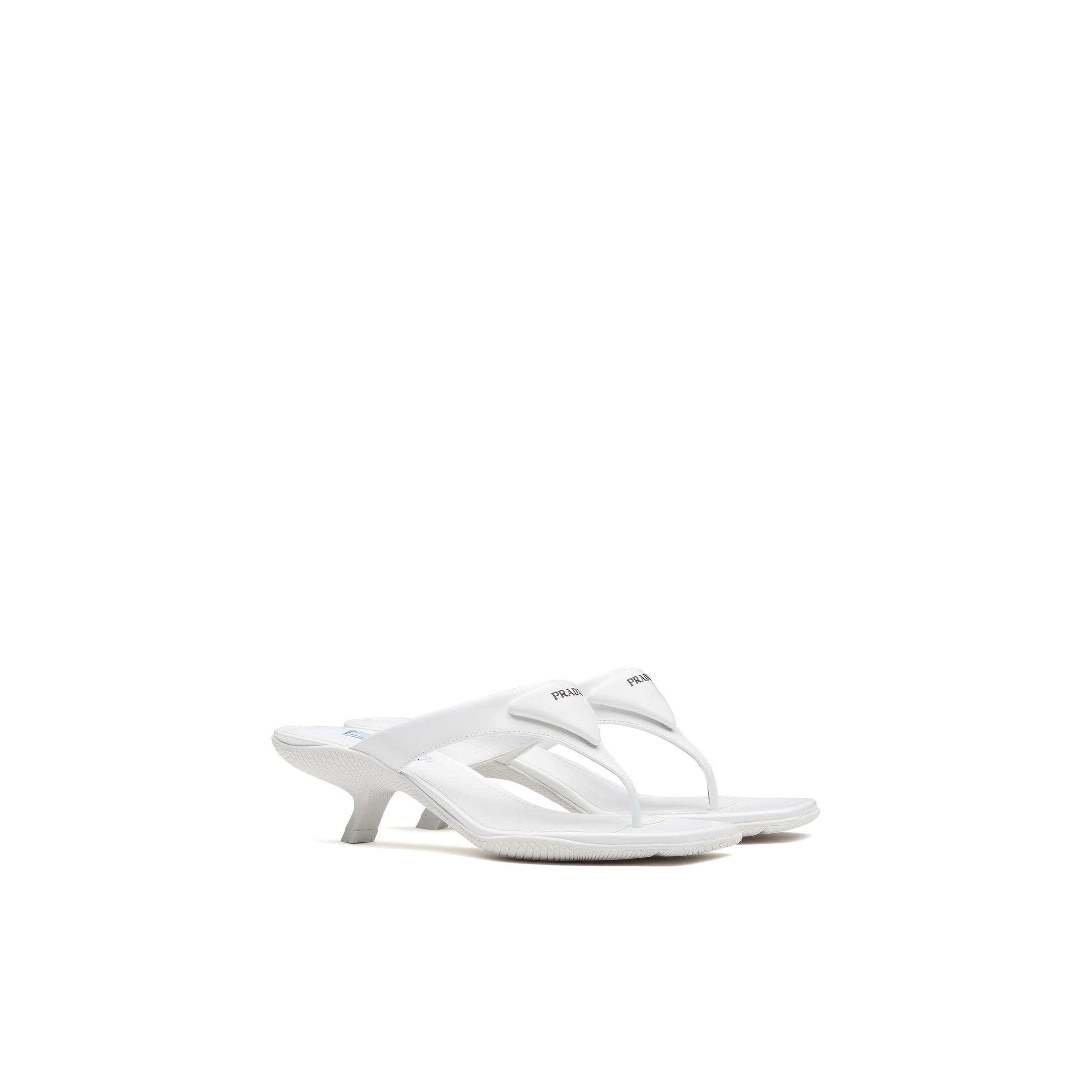 Brushed Leather High-heeled Thong Sandals Women White