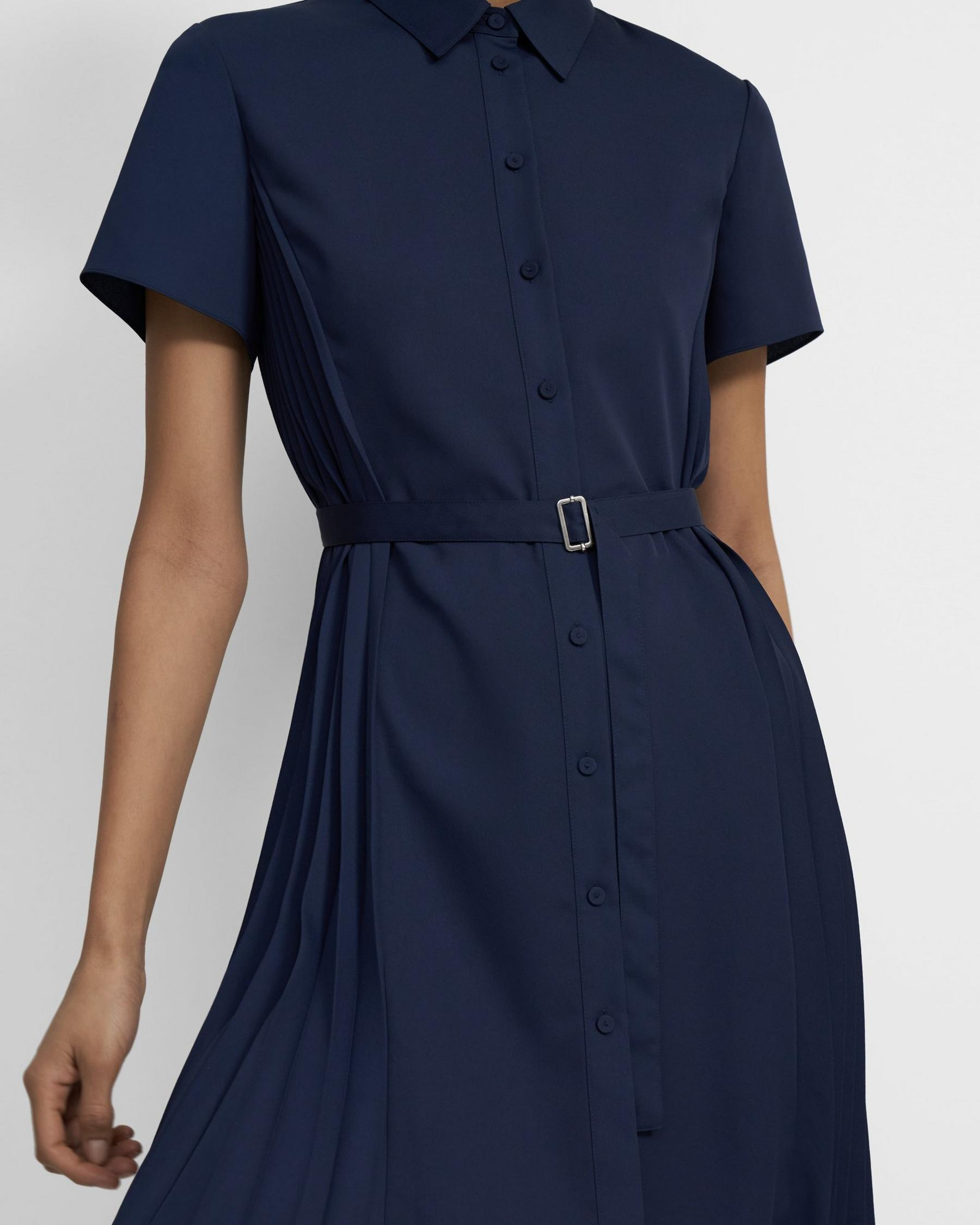 Pleated Short-Sleeve Shirtdress in Satin Crepe 1