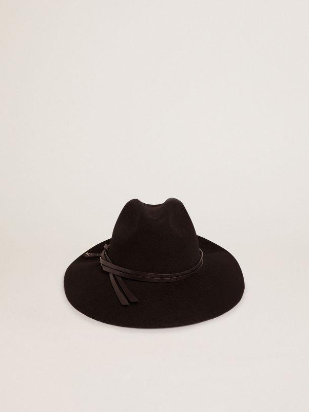 Black Golden Collection Fedora hat with woven leather strap