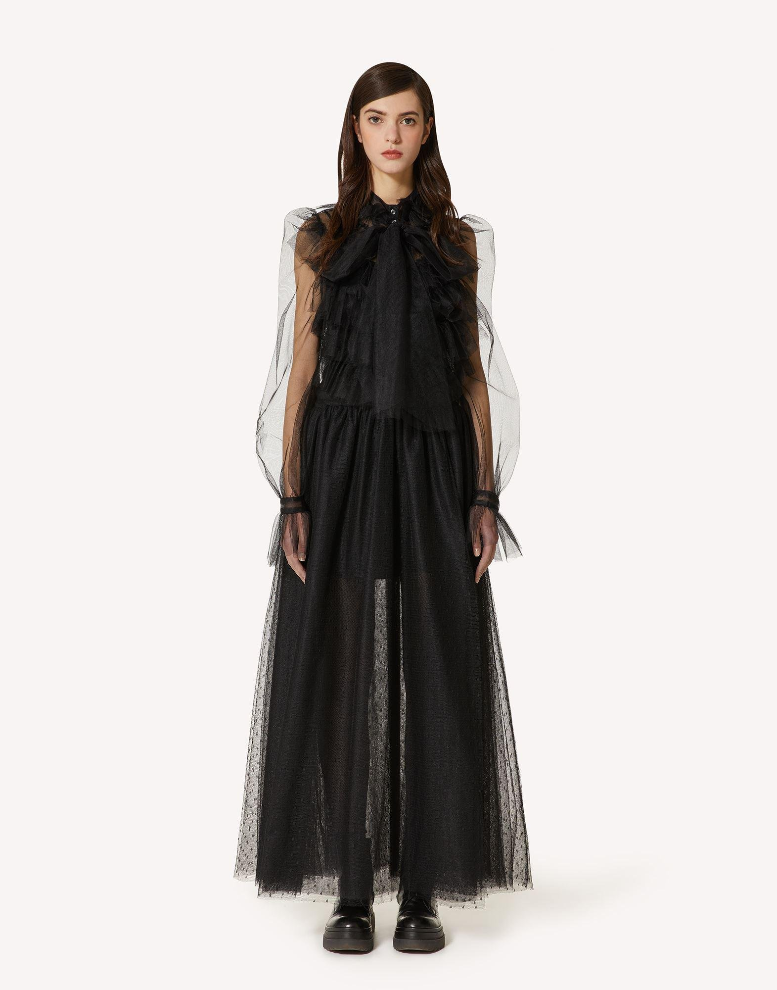 THE BLACK TAG. - RUFFLE DETAIL POINT D'ESPRIT TULLE DRESS