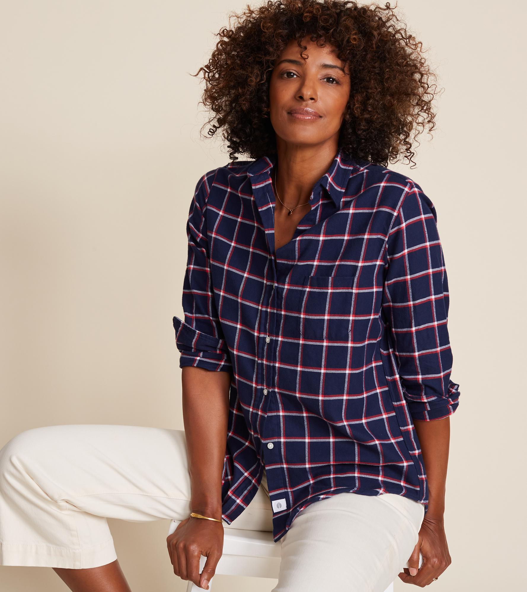 The Hero Navy with Red and White Plaid, Plush Flannel Final Sale