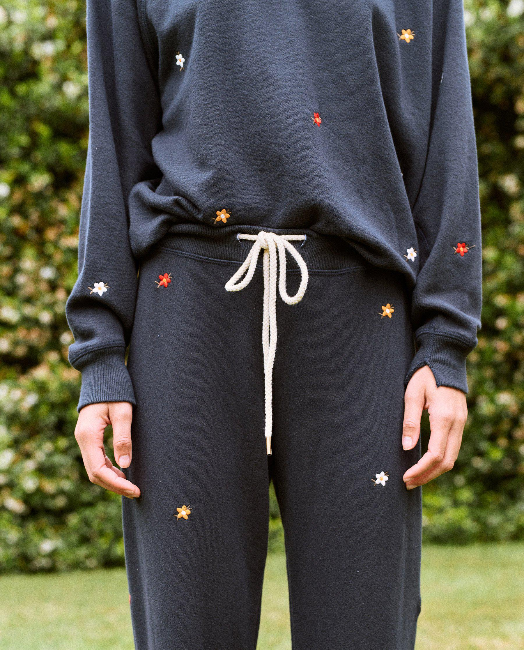 The Cropped Sweatpant. Embroidered -- Navy with Seed Floral Embroidery 3
