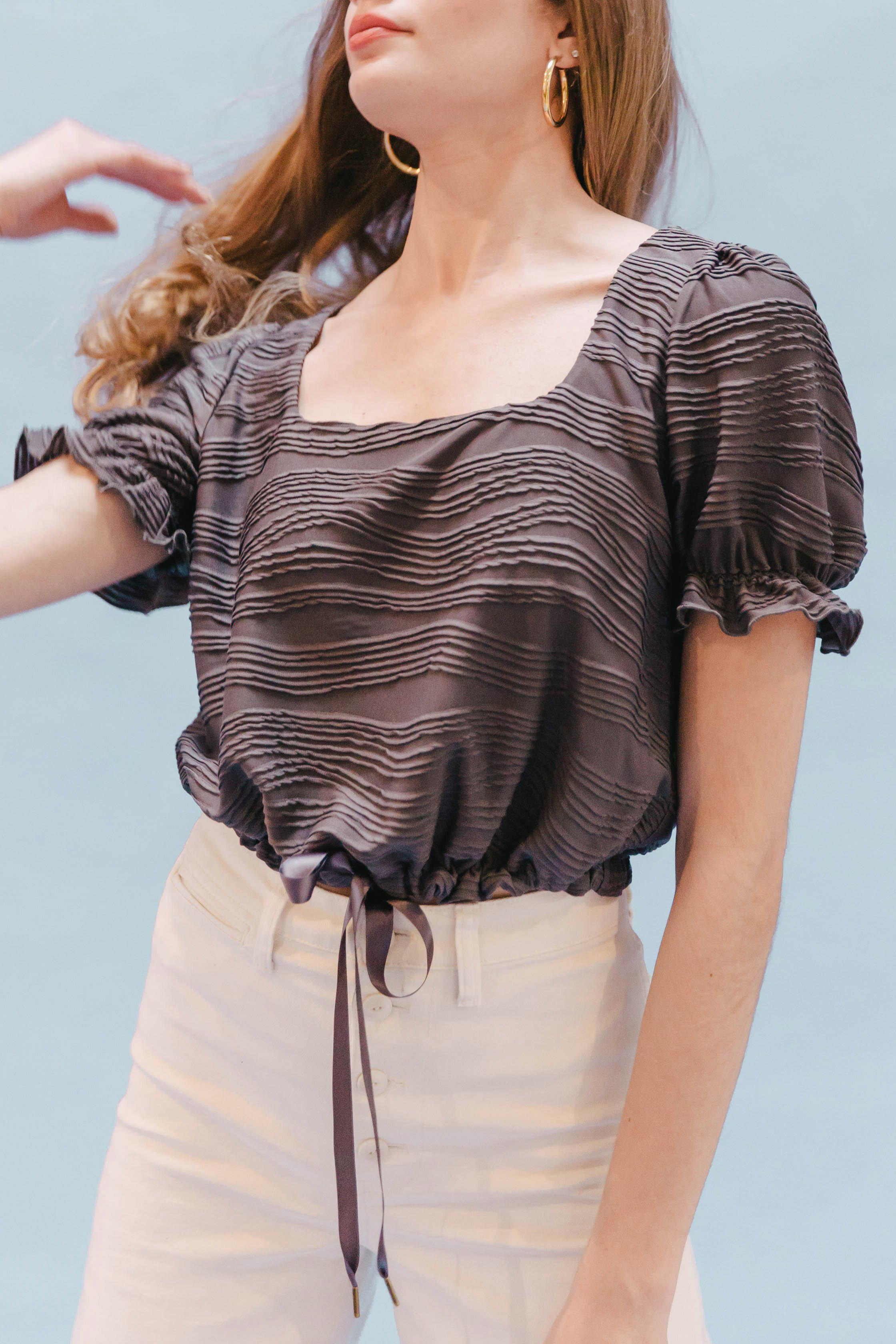 THE SQUARE NECK CINCHED TOP ~ GRAPHITE (FINAL SALE)