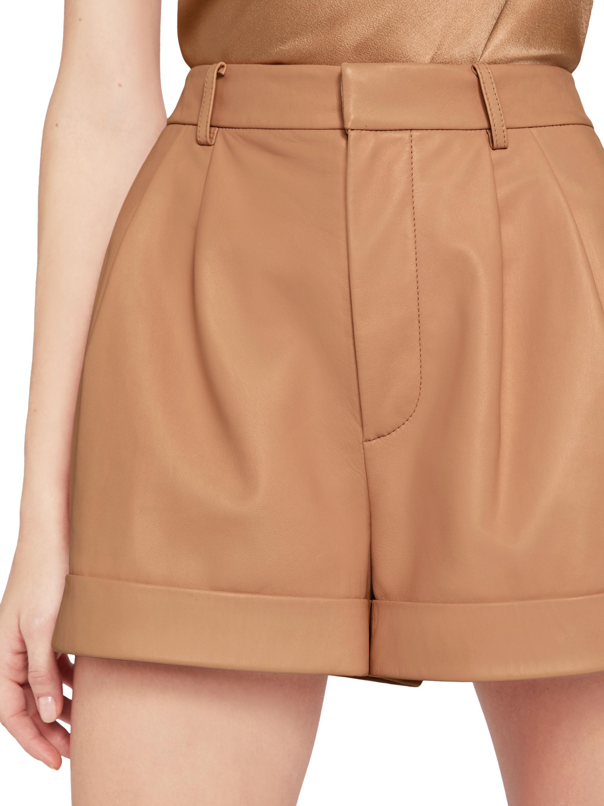 CONRY LEATHER PLEATED SHORTS 4