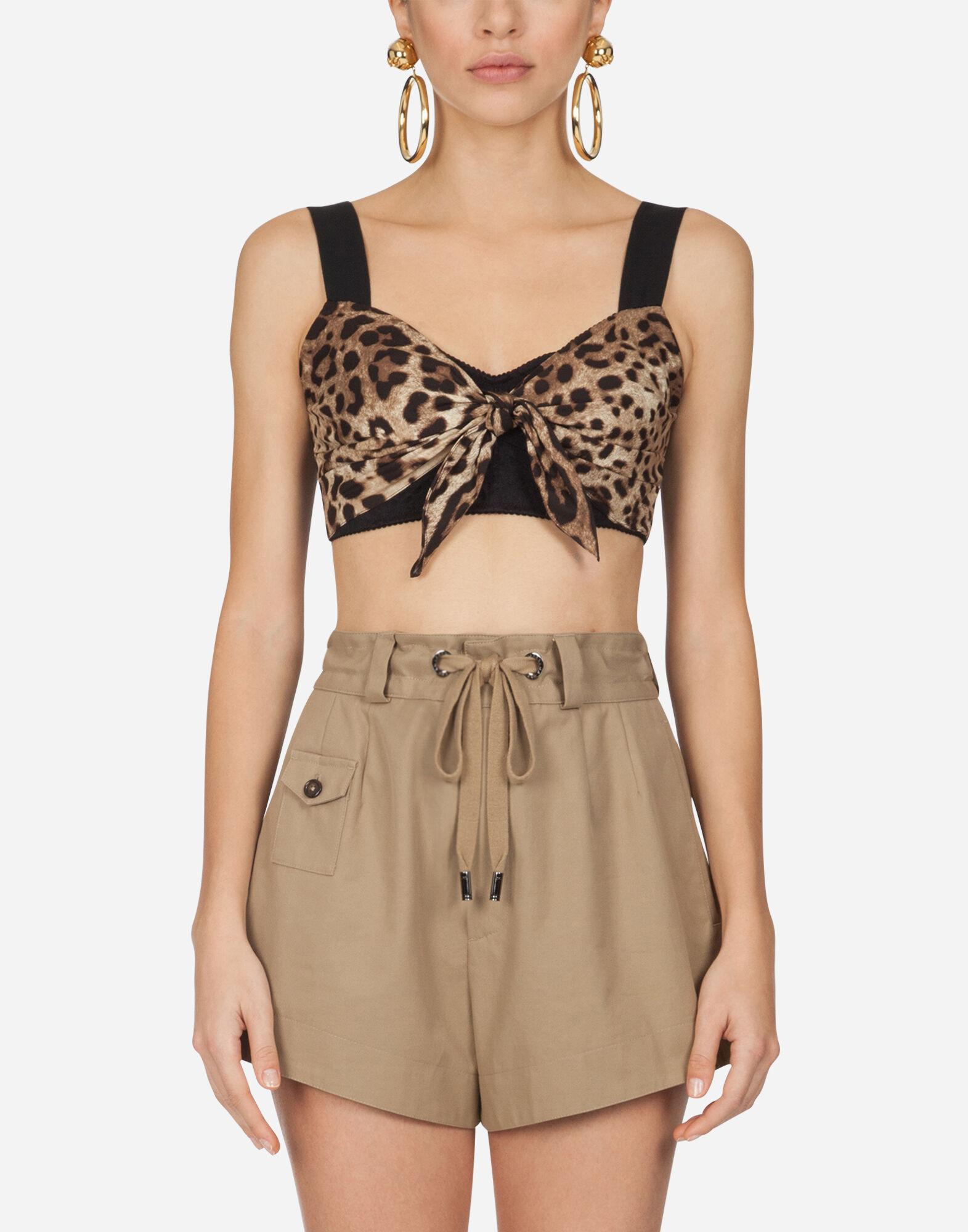 Poplin top with leopard print and brassiere