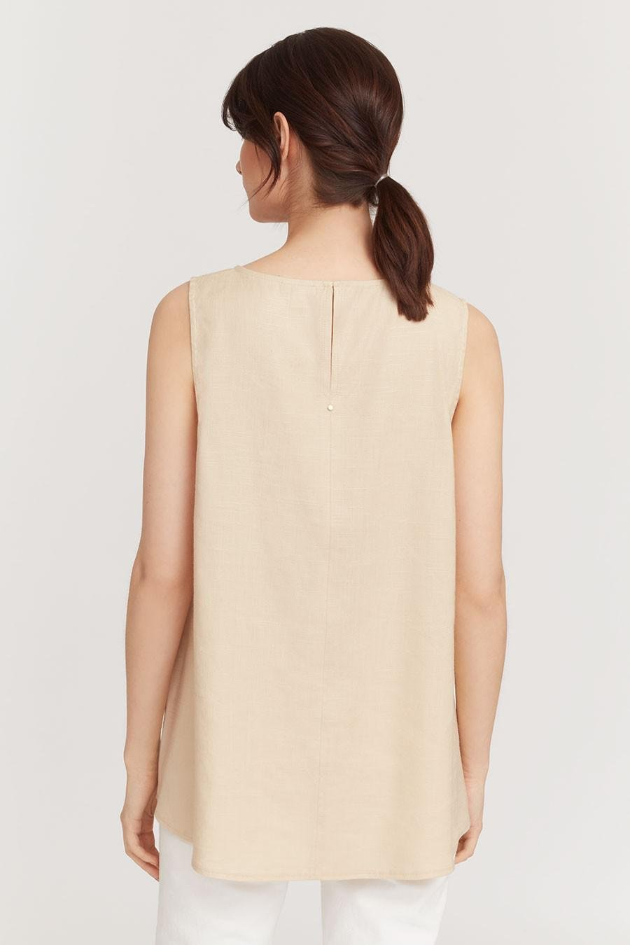 Women's Linen Draped-Front Shell Top in Sand | Size: 2