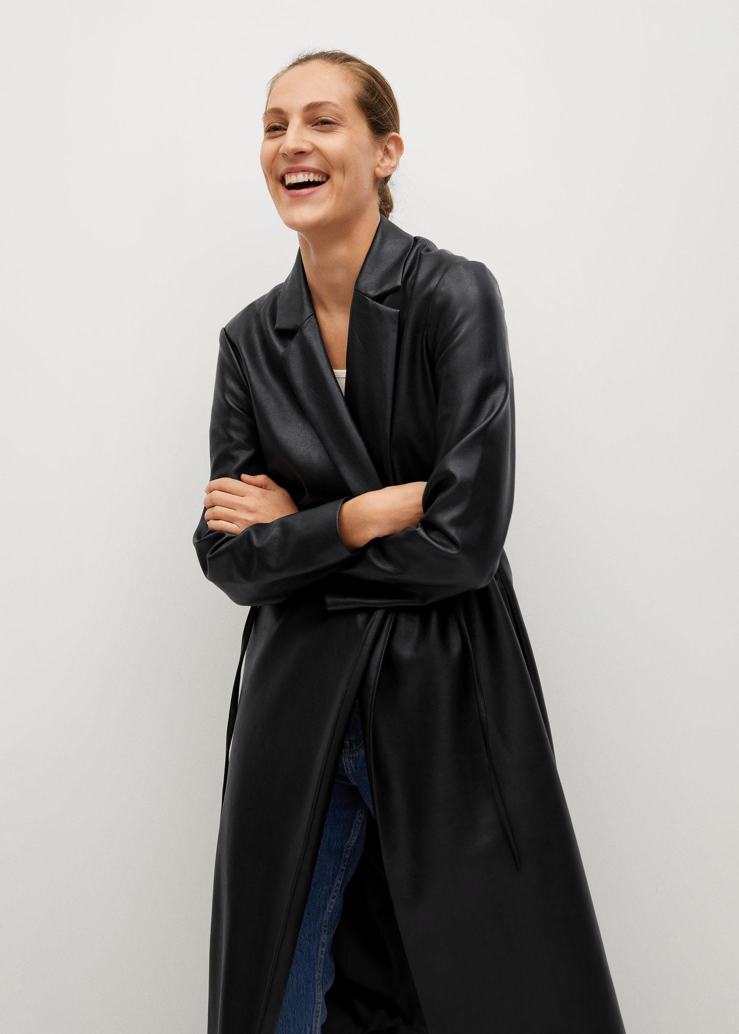 Leather-effect coat with belt