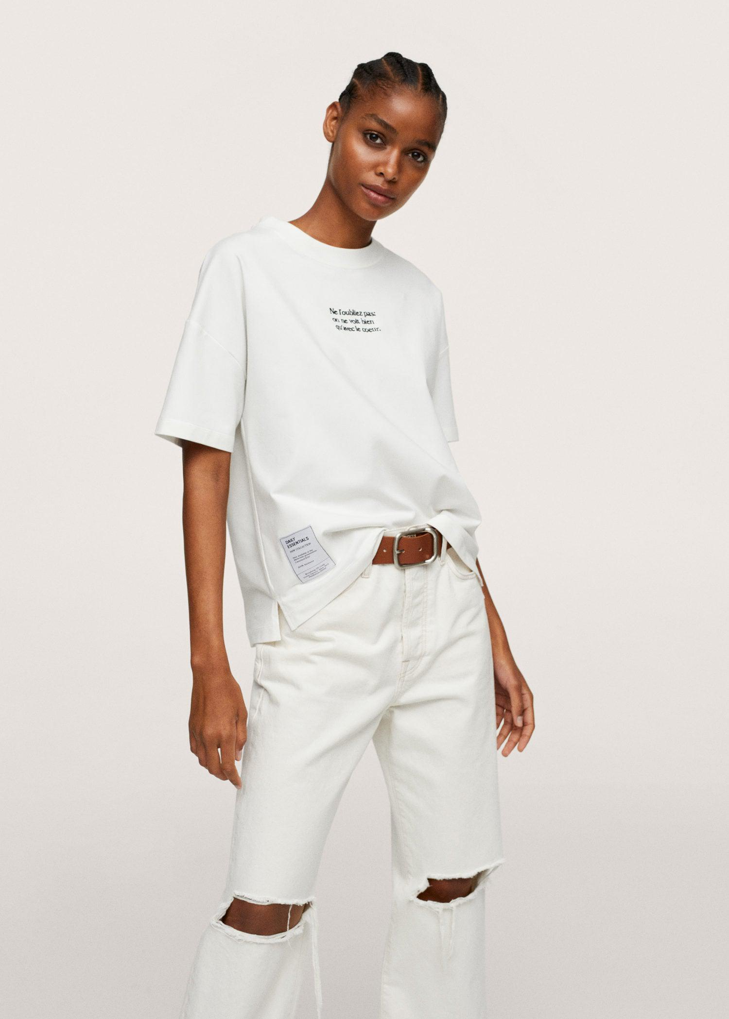 Embroidered cotton message t-shirt