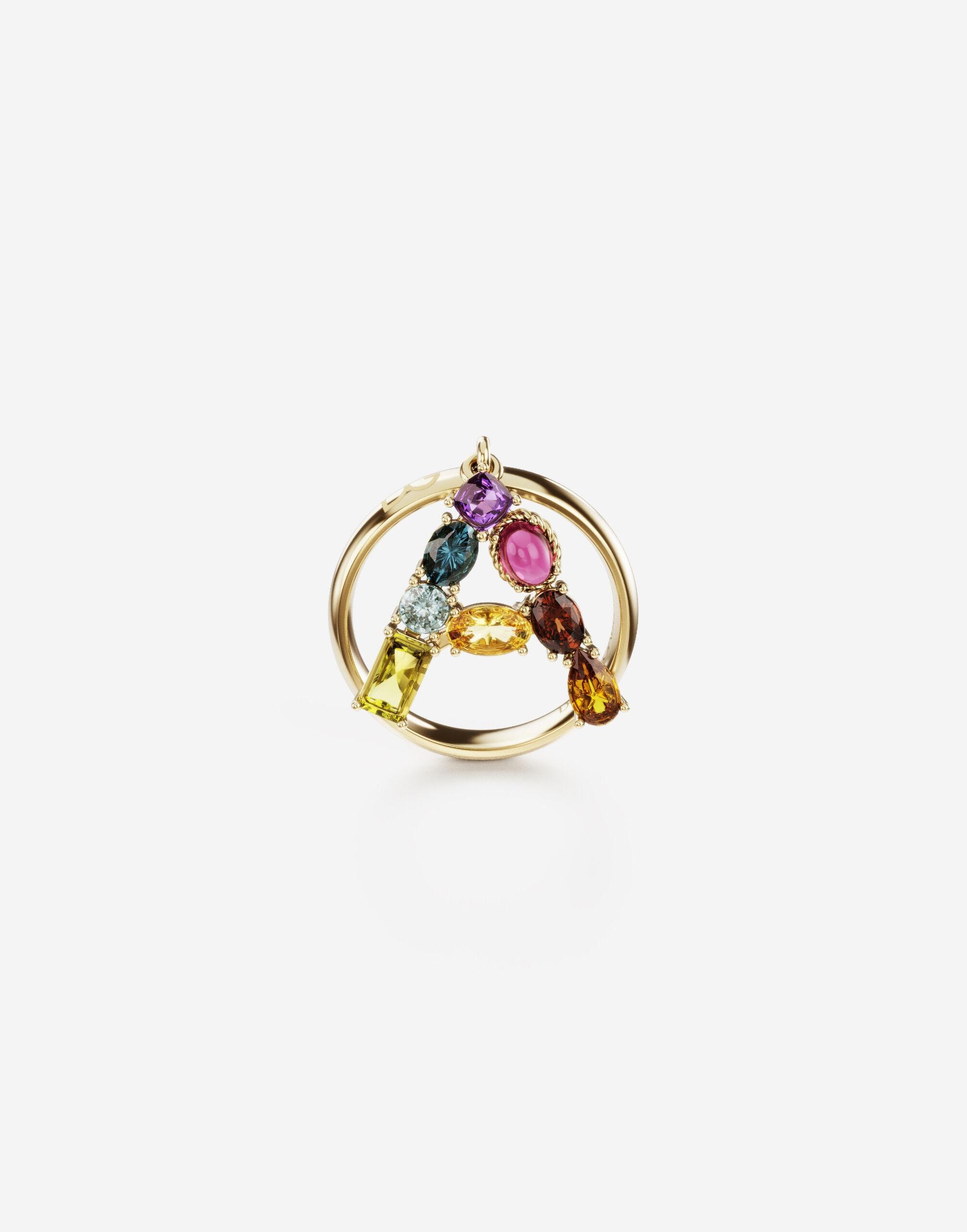 Rainbow alphabet A ring in yellow gold with multicolor fine gems