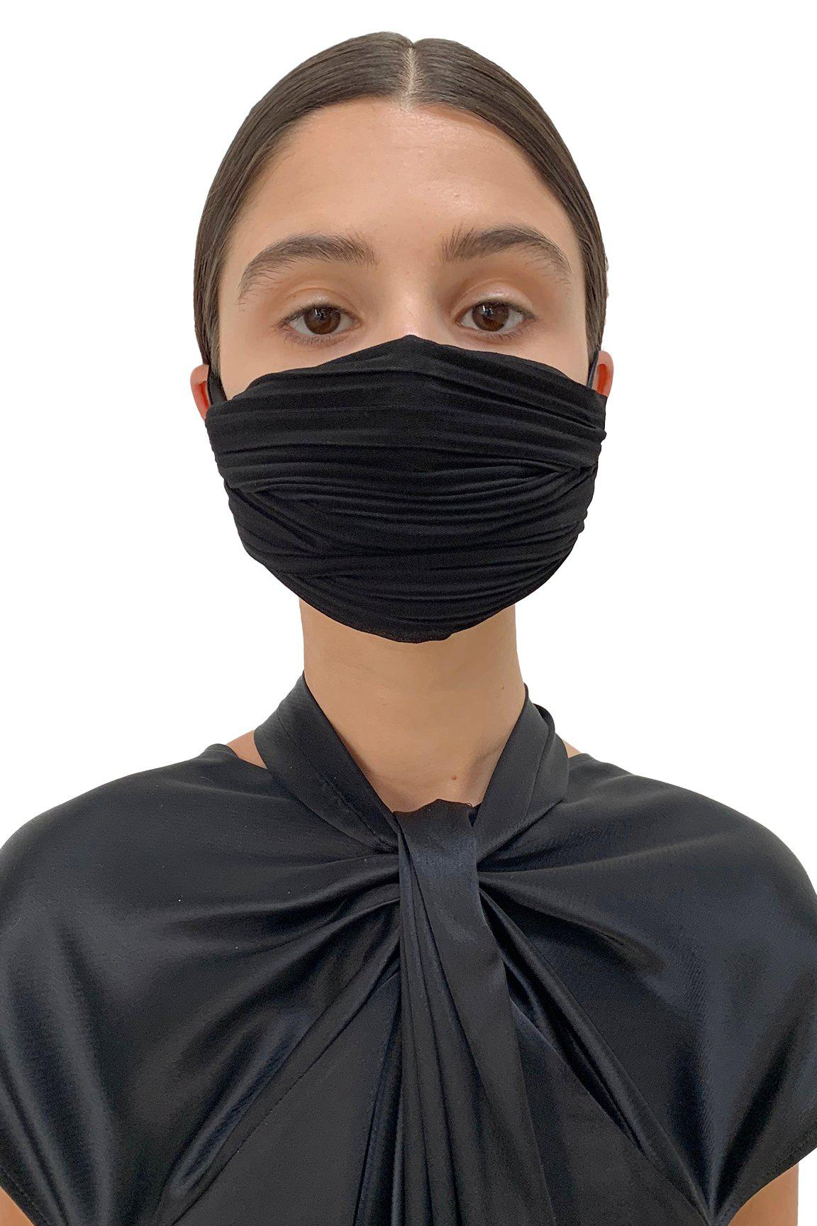 Black Pleated Face Mask 2