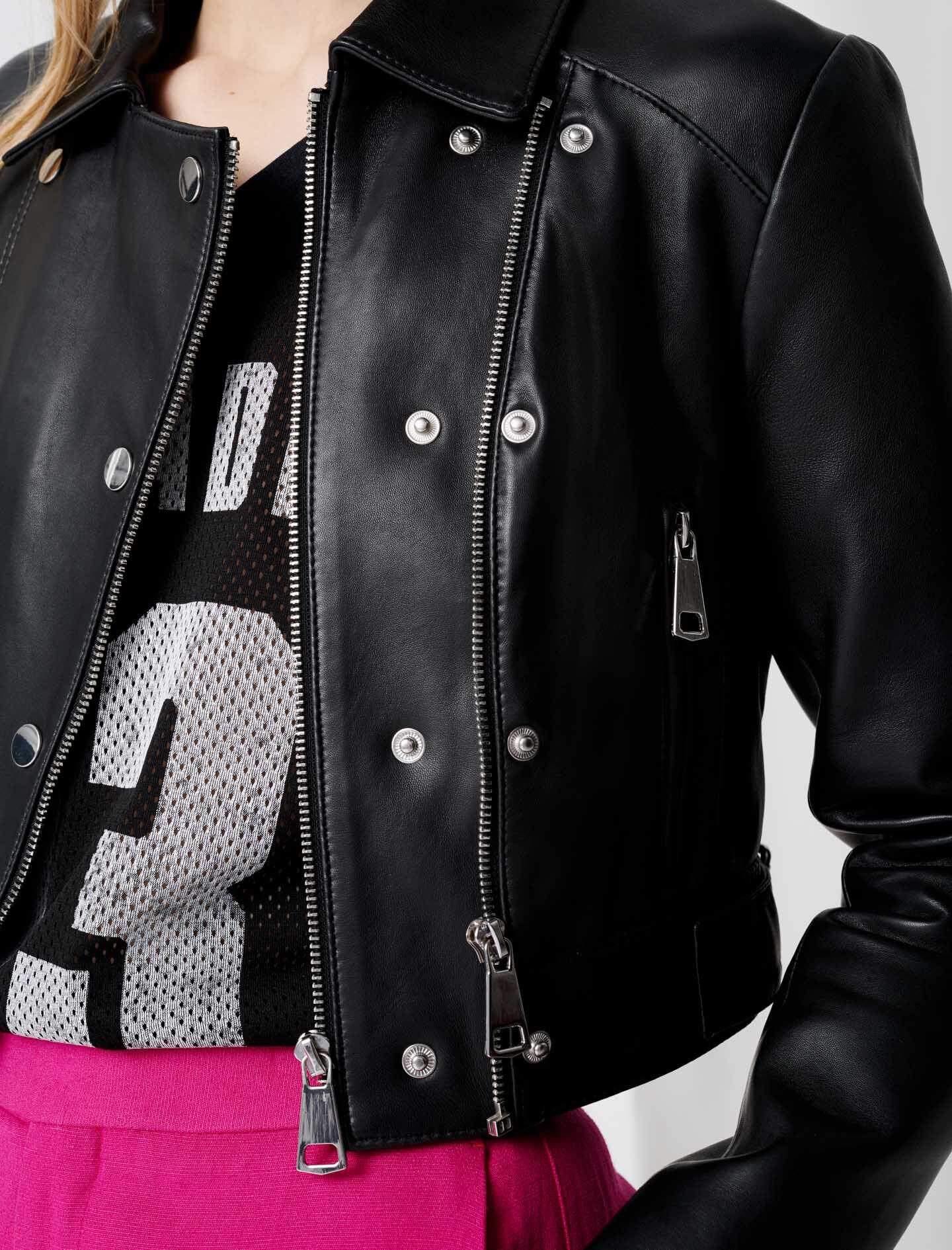 SHORT LEATHER JACKET WITH ASYMMETRIC ZIP 4