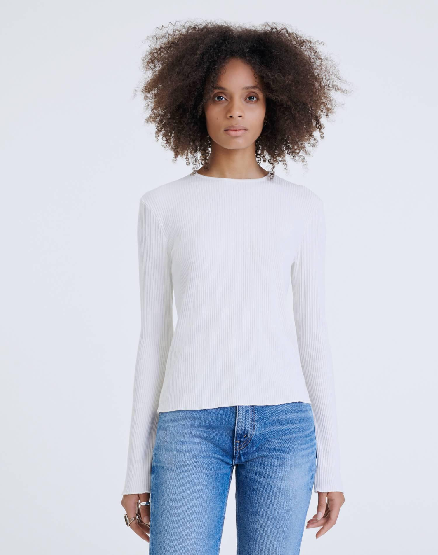 60s Ribbed Long Sleeve Tee - Vintage White