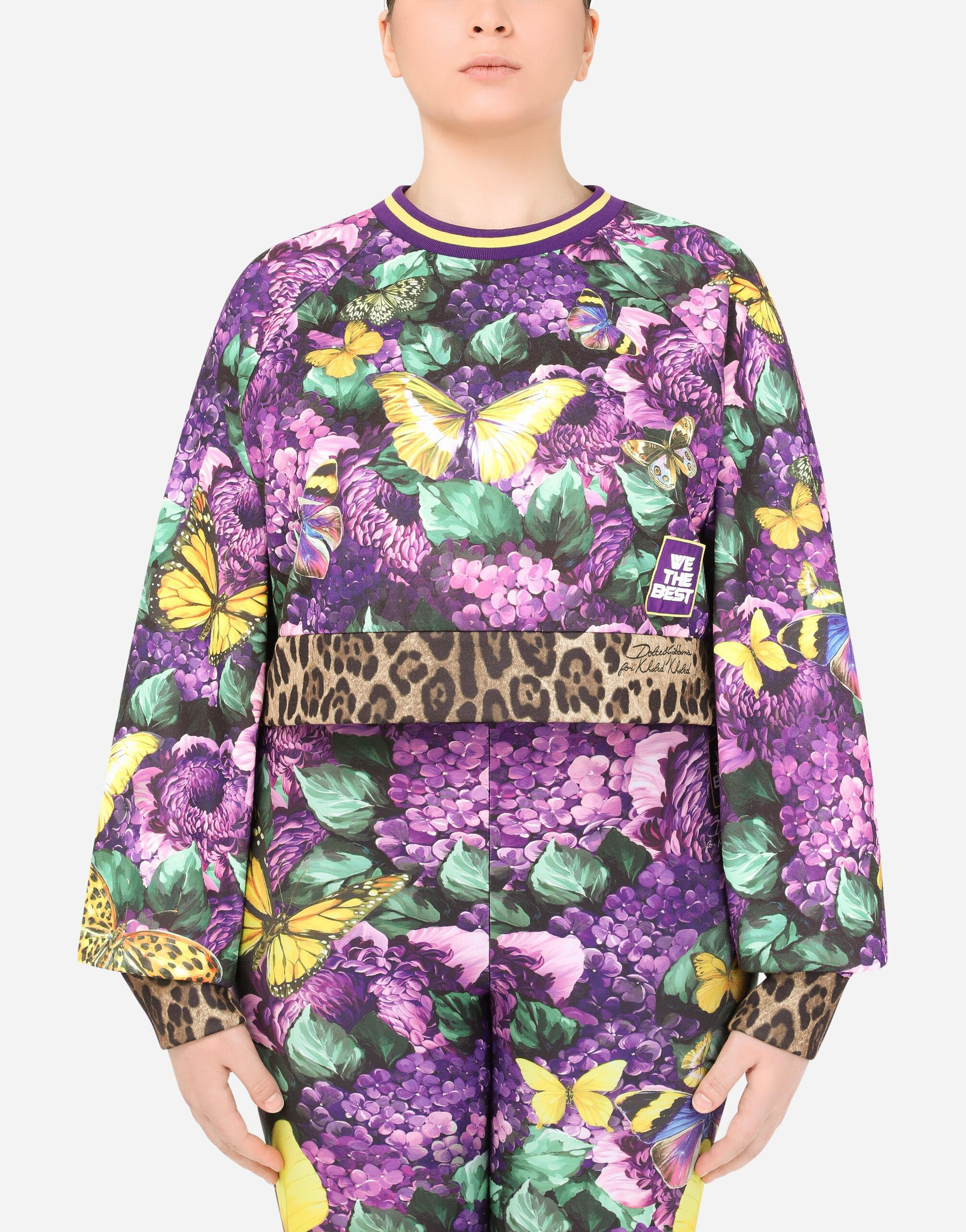 Round-neck jersey sweatshirt with butterfly print