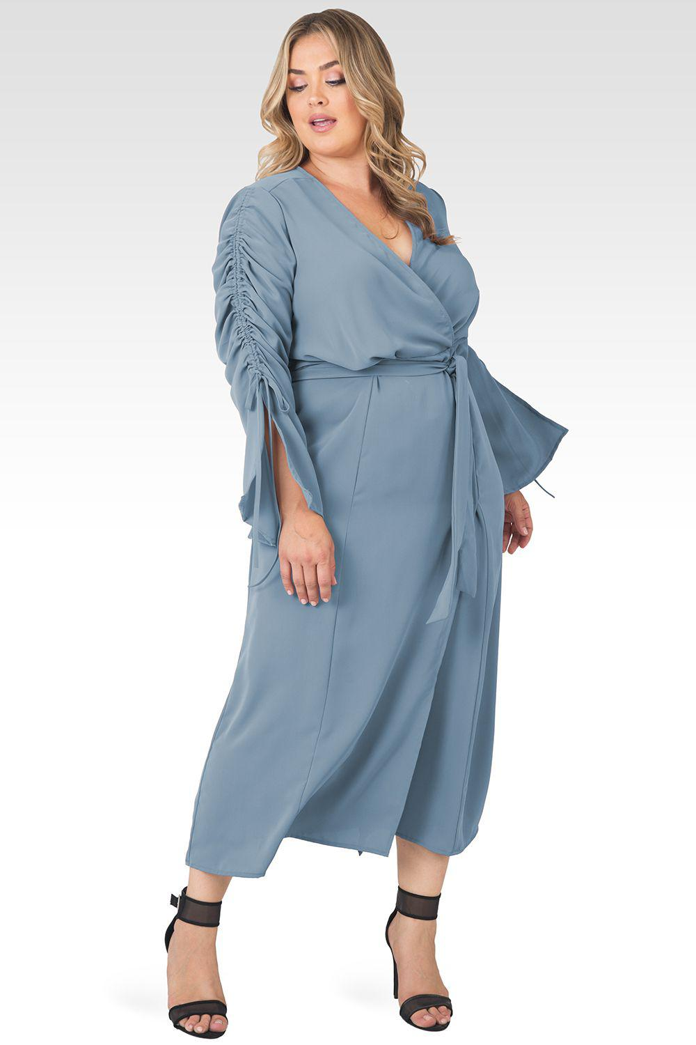 Plus Size Violeta Solid Slate Ruched Sleeves Wrap Maxi Dress 1