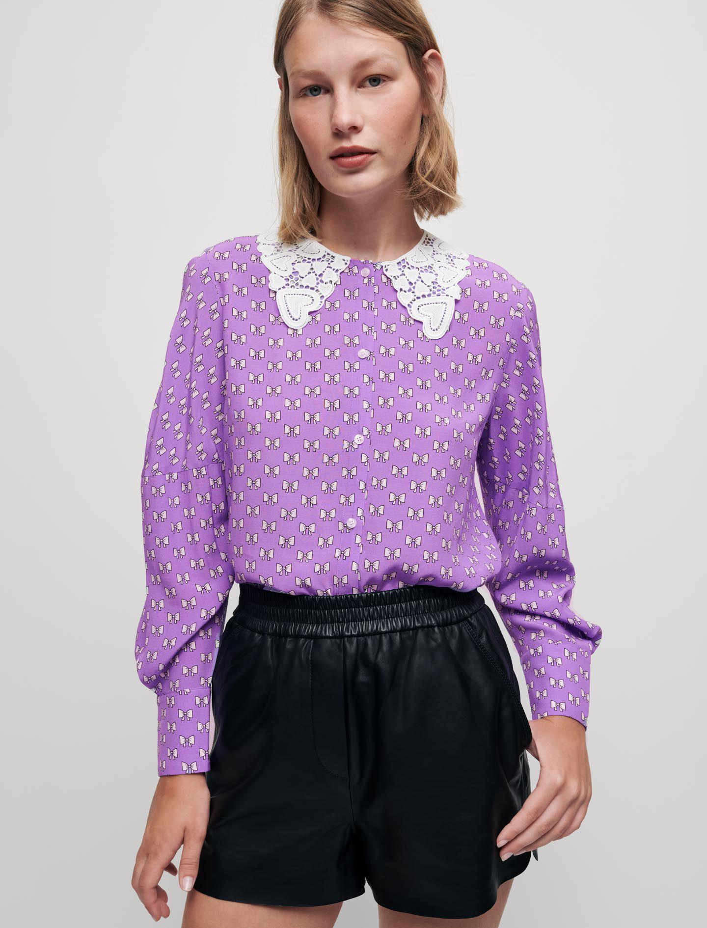 BOW-PRINT SHIRT WITH GUIPURE COLLAR