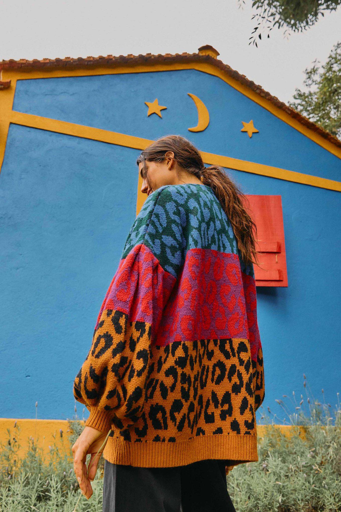 MIXED IKAT DYED LEOPARDS CARDIGAN