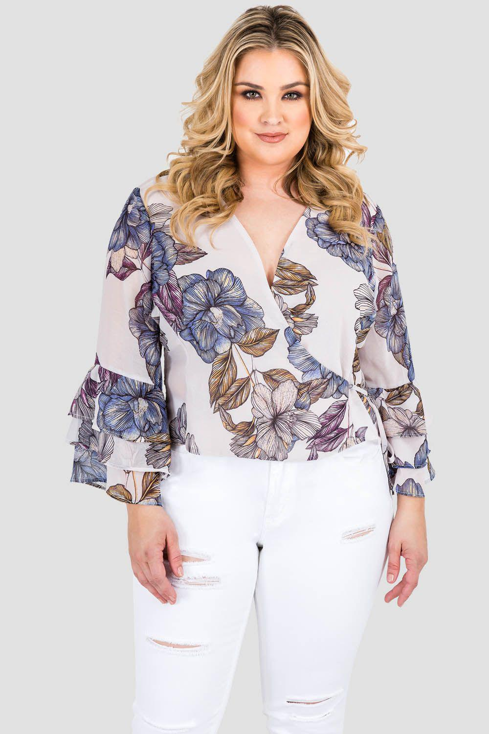 Plus Size Miley Ruffle Flare Sleeve Top - Floral Print Chiffon