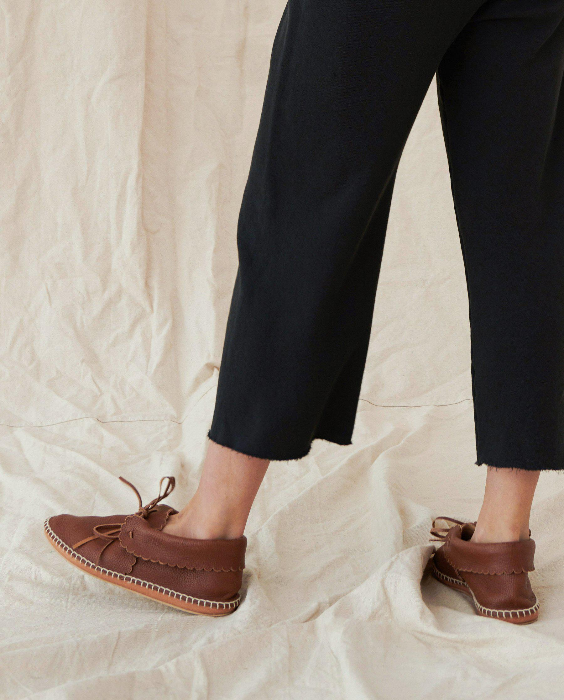 The Wide Leg Cropped Sweatpant. -- Almost Black 1