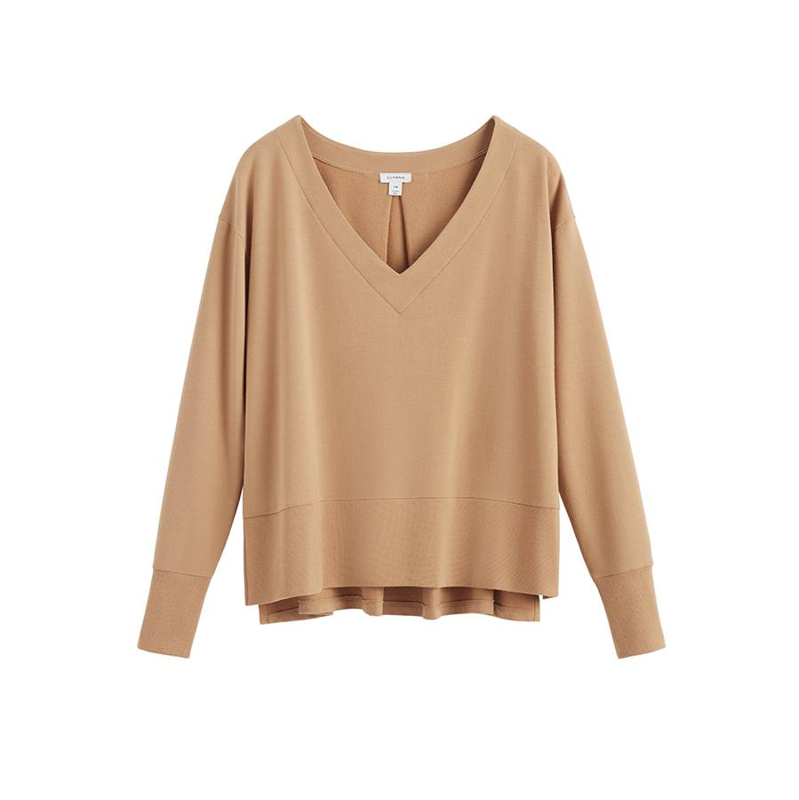 Women's French Terry V-Neck Sweatshirt in Camel | Size: