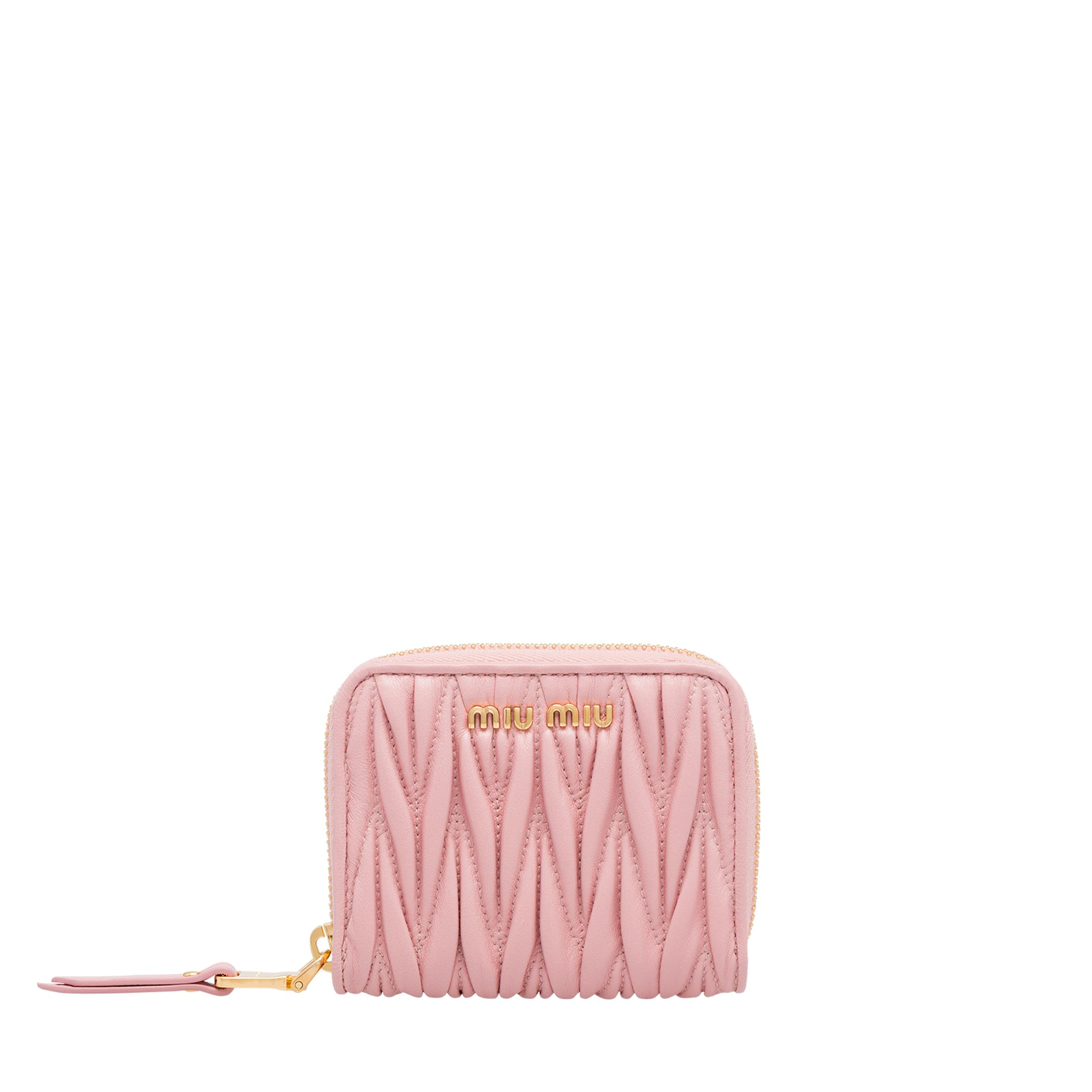 Matelassé Nappa Leather Coin Purse Women Orchid Pink