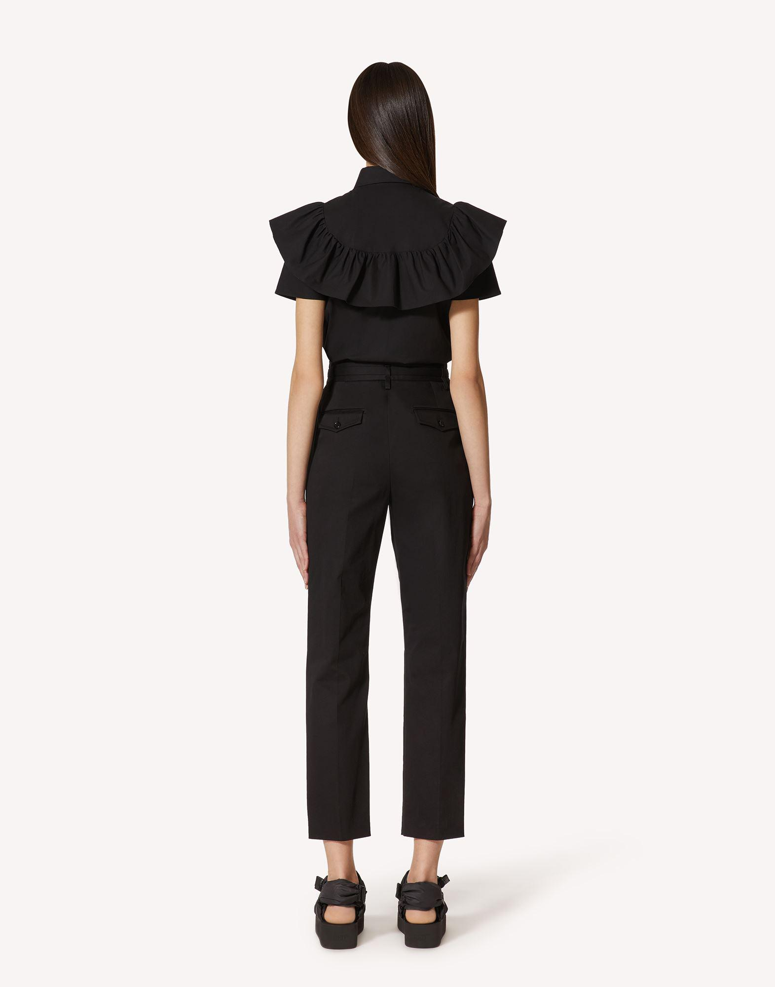 COTTON POPLIN SHIRT WITH RUFFLE AND BOW DETAIL 1