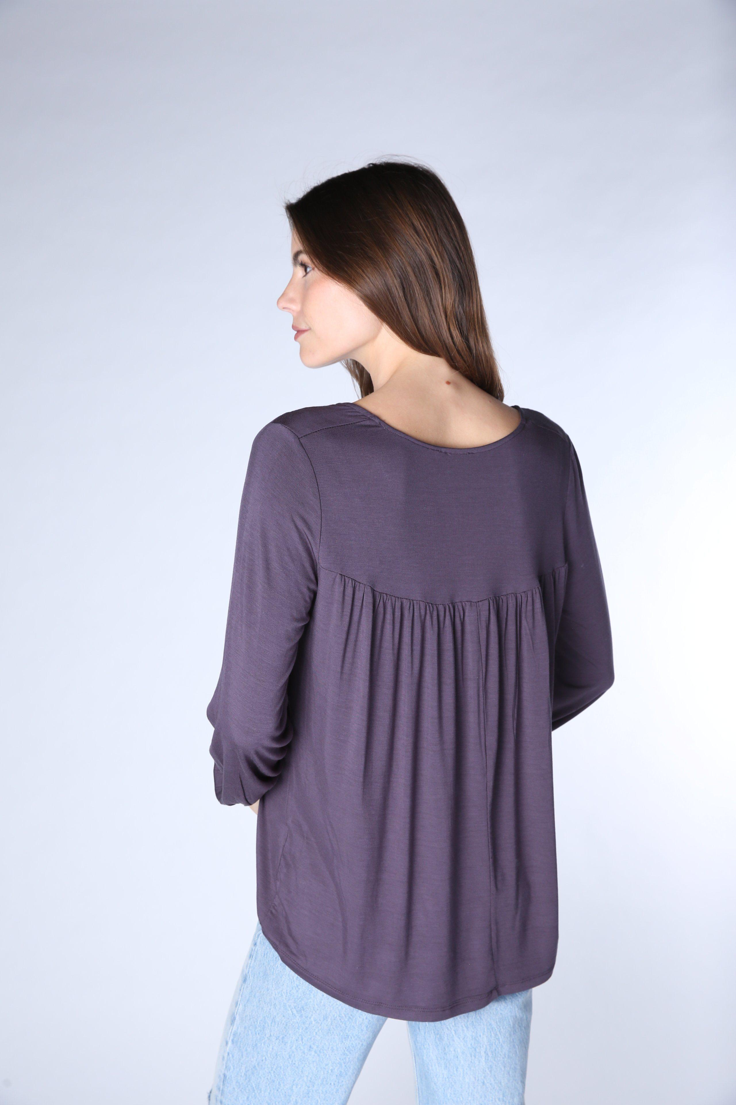 Ruched Gathered Long Sleeve Tee 3